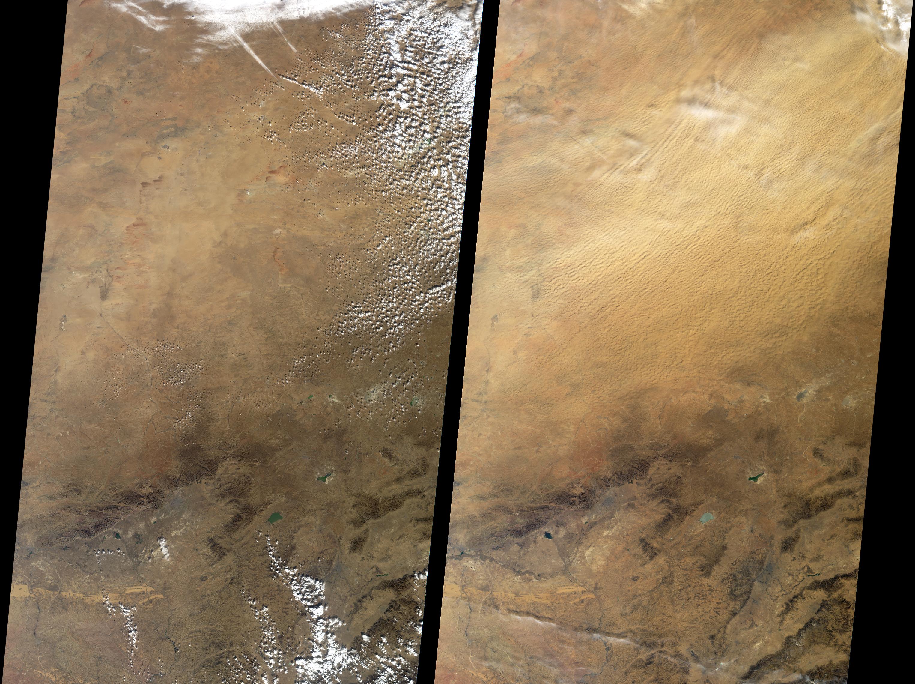 Mar de polvo aérea encima de China