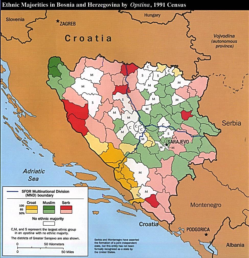 Bosnia and Herzegovina Ethnic Majorities 1991