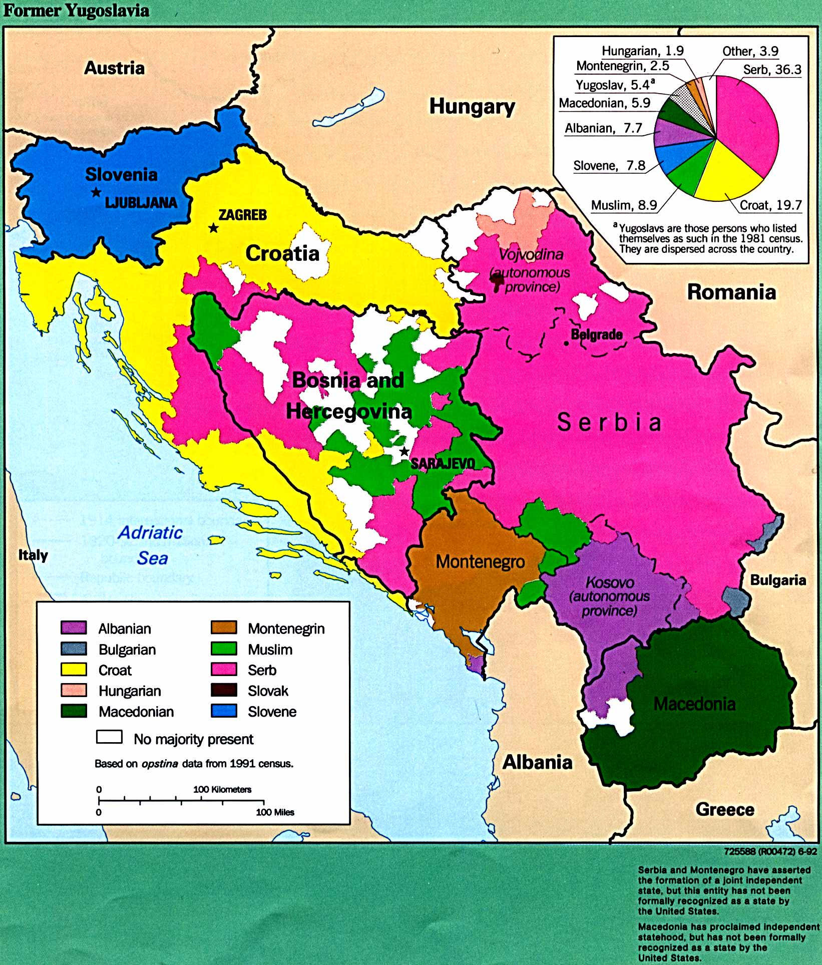 Former Yugoslavia Ethnic Majorities 1992