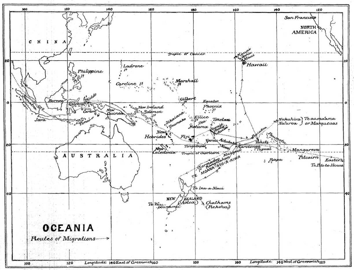 Oceania Polynesian migration routes