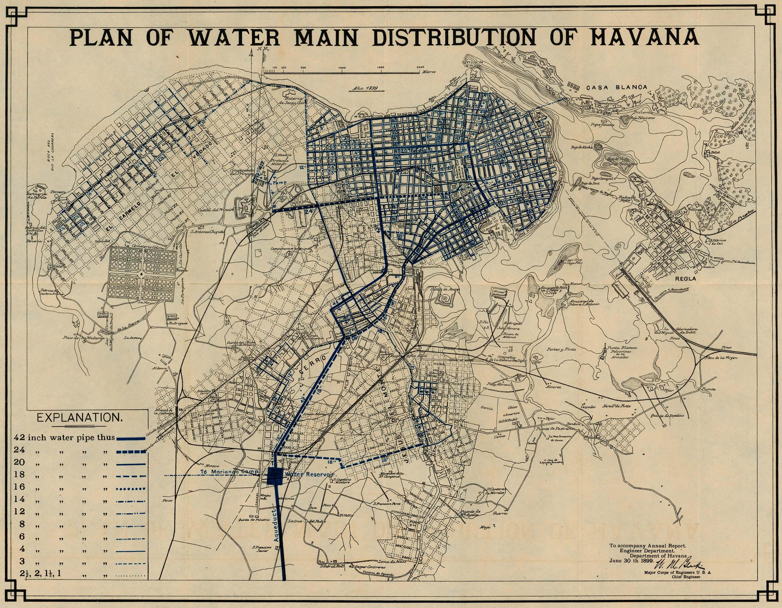 Plano de Distribución de Agua de la Ciudad de La Havana, Cuba 1899