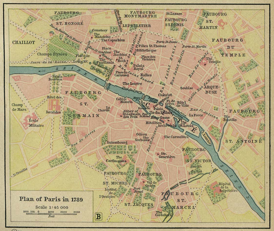 Map of plan of paris, france 1789