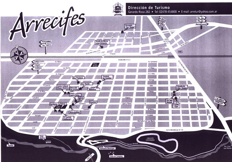 Plano de la Ciudad de Arrecifes 2, Prov. Buenos Aires, Argentina