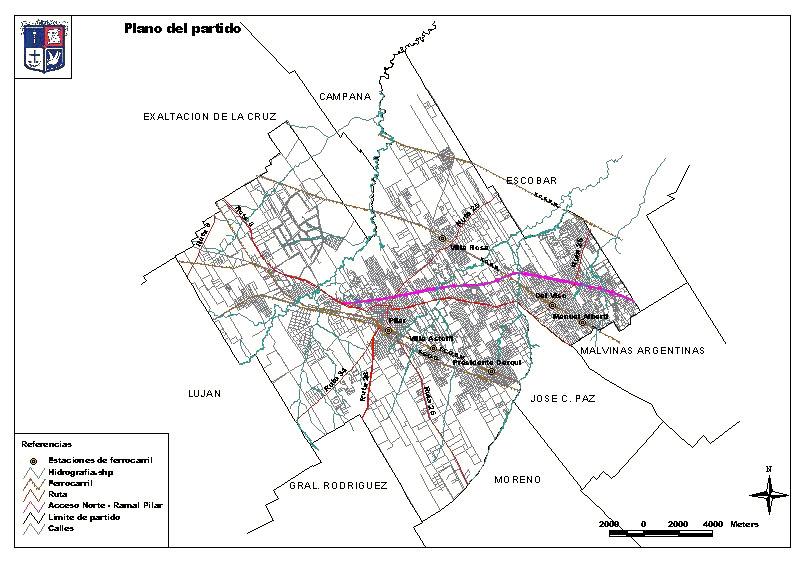 Plano del Partido de Pilar, Prov. Buenos Aires, Argentina