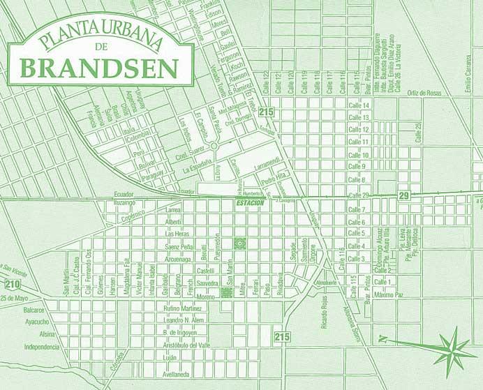 Planta Urbana de Brandsen, Prov. Buenos Aires, Argentina