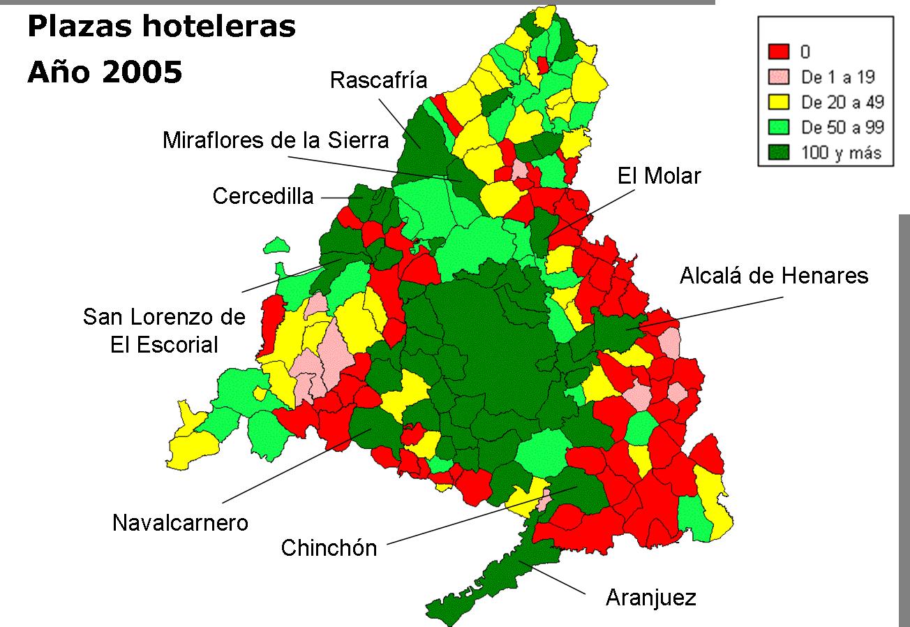 Plazas hoteleras Comunidad de Madrid 2005