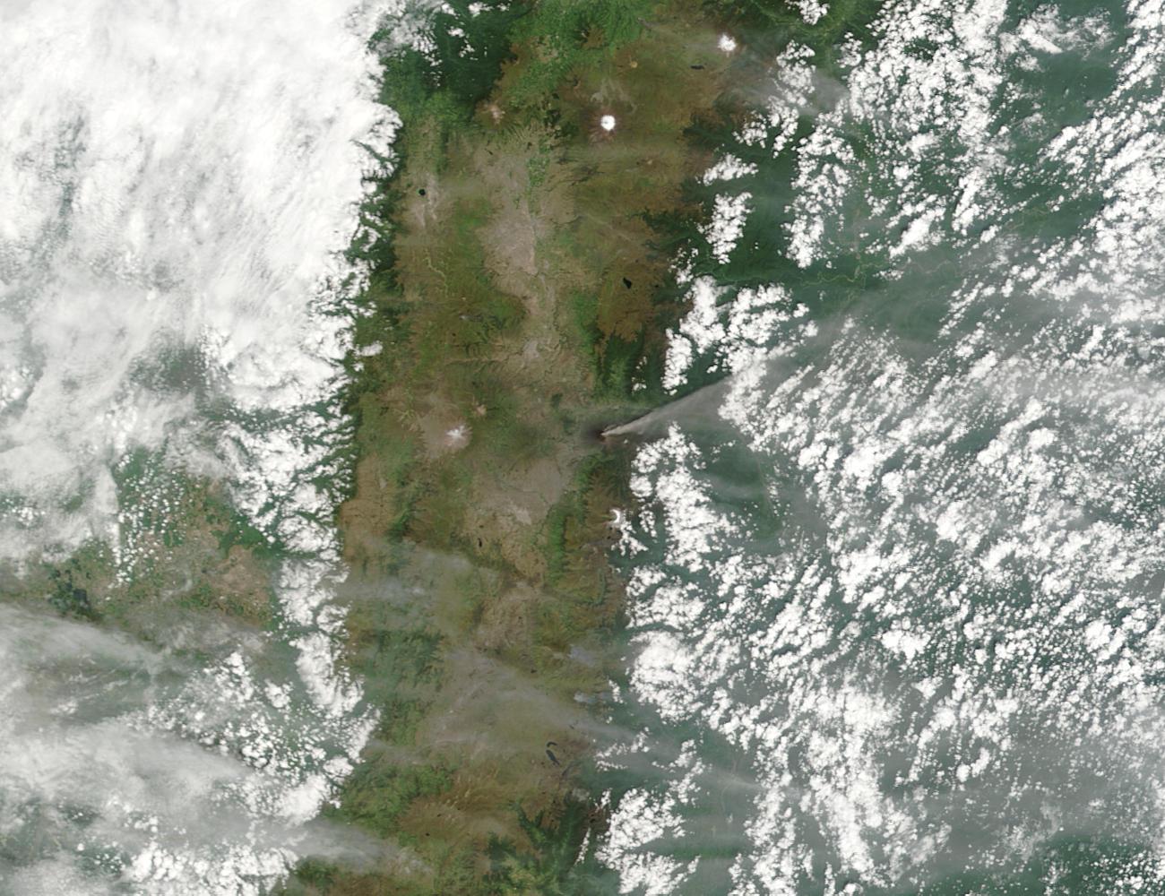 Ash plume rising from Tungurahua volcano, Ecuador