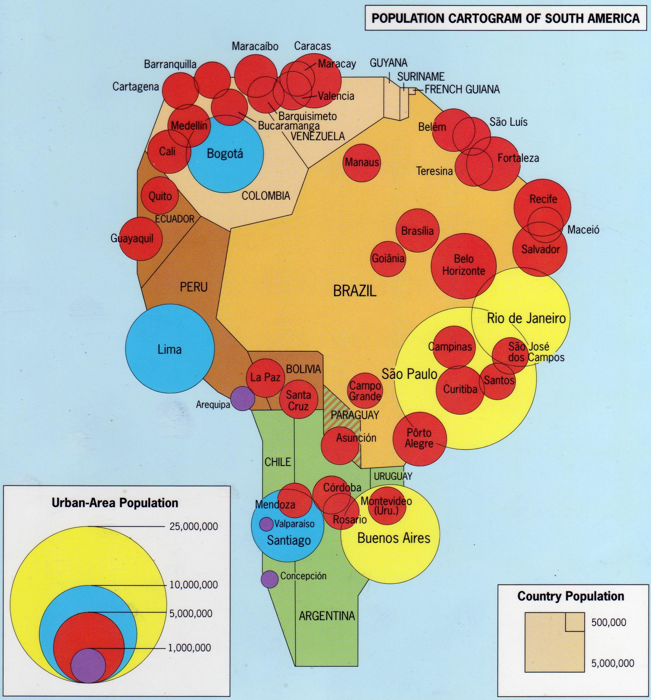 Población en América del Sur