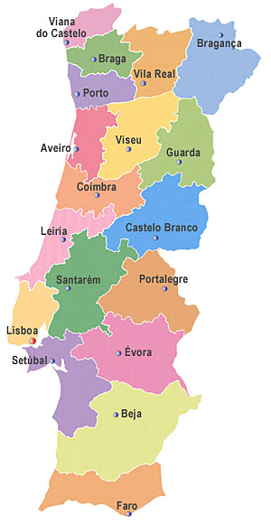 Mapa de Portugal Districts Map