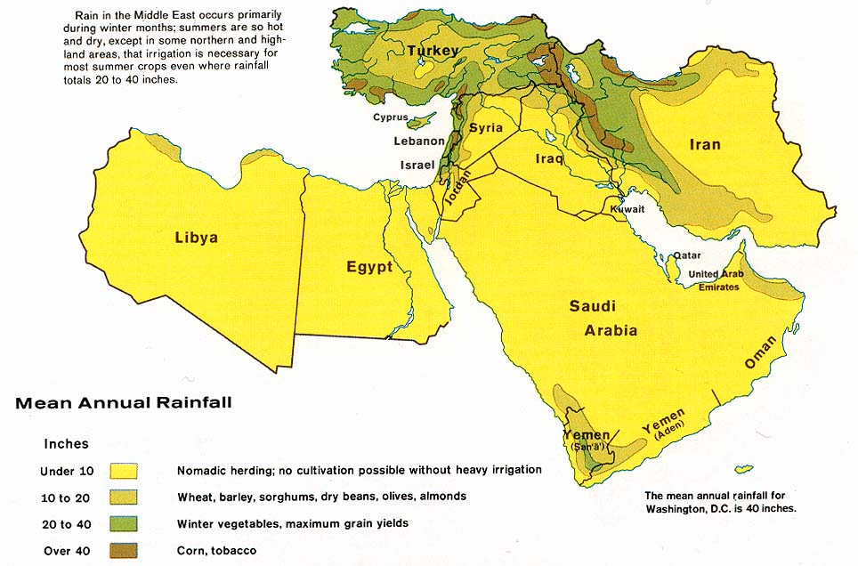 Middle East mean annual rainfall 1973