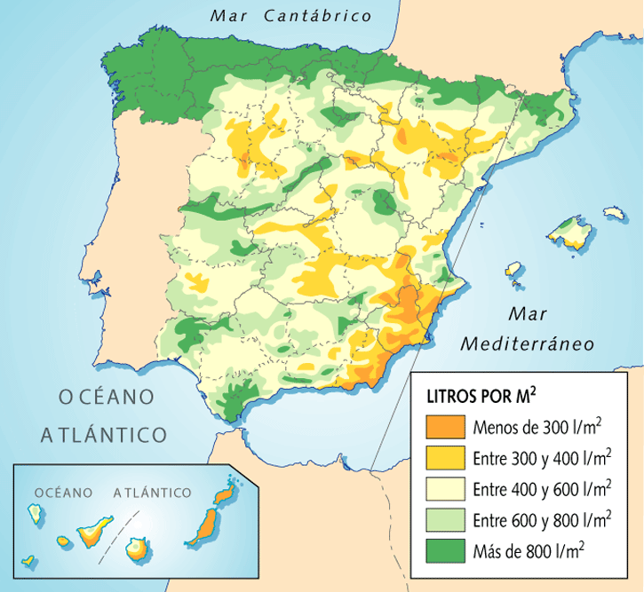 Average yearly rainfall in Spain