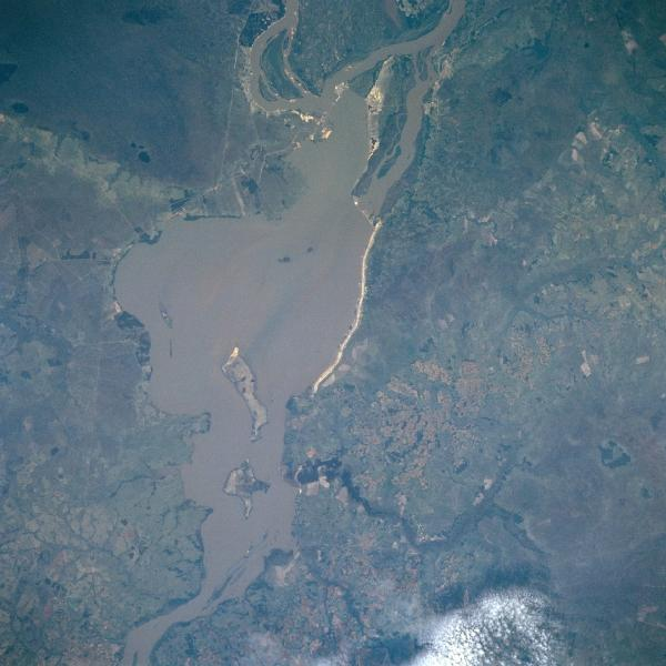 Satellite Image, Photo of Yacyreta Dam, Argentina/Paraguay