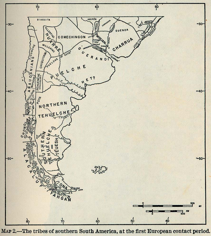 South America Tribes, First European Contact Map