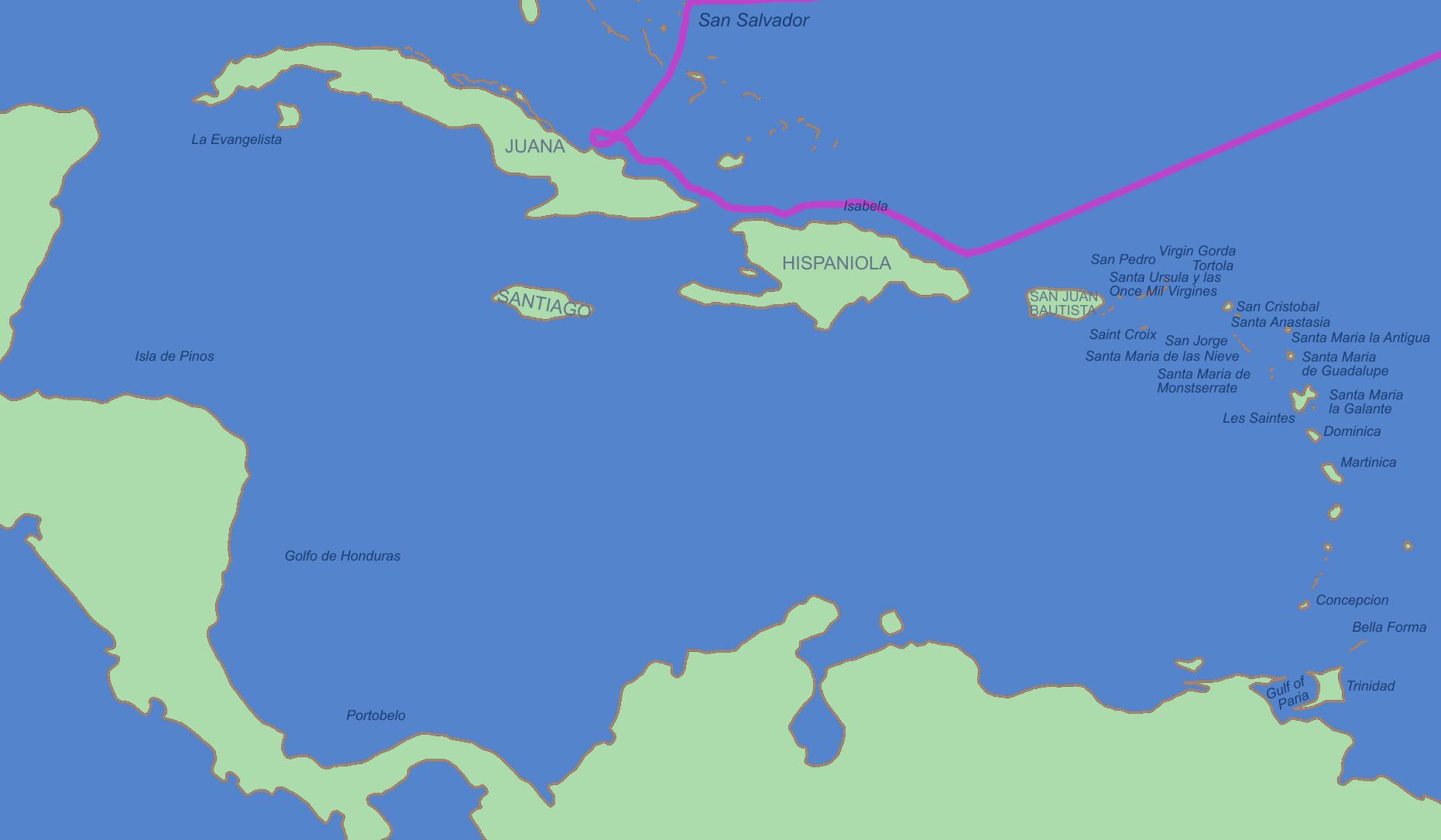 Primer viaje de Cristóbal Colón en 1492