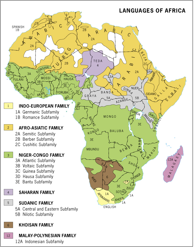 Principales idiomas de África