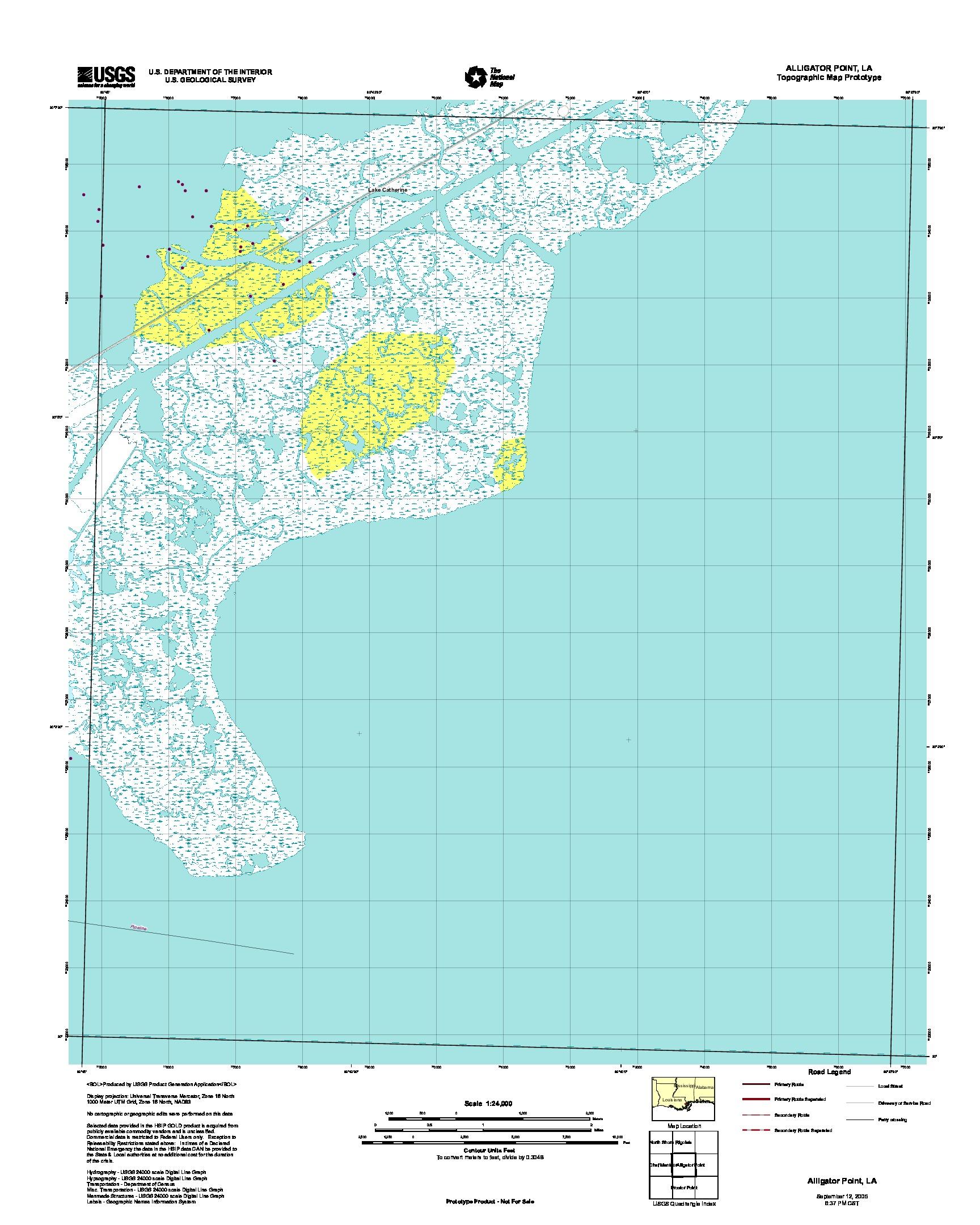 Alligator Point, Topographic Map Prototype, Louisiana, United States, September 12, 2005