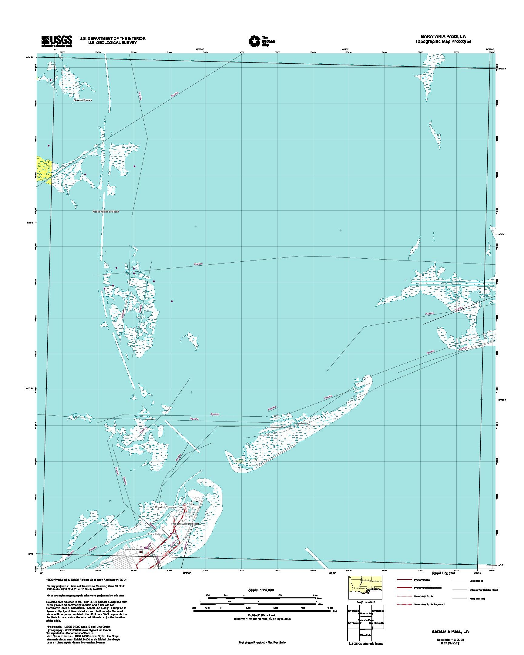 Barataria Pass, Topographic Map Prototype, Louisiana, United States, September 12, 2005
