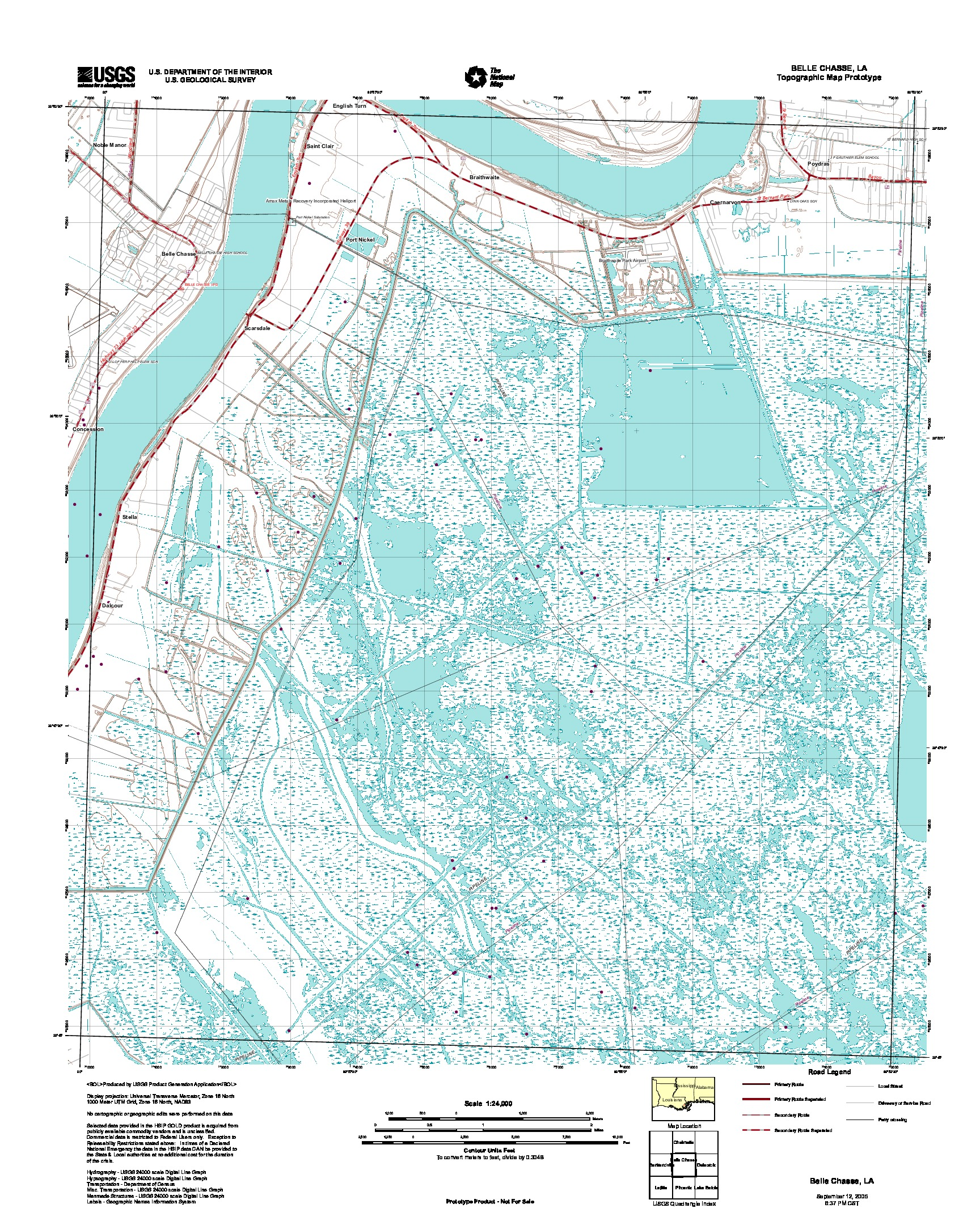 Belle Chasse, Topographic Map Prototype, Louisiana, United States, September 12, 2005