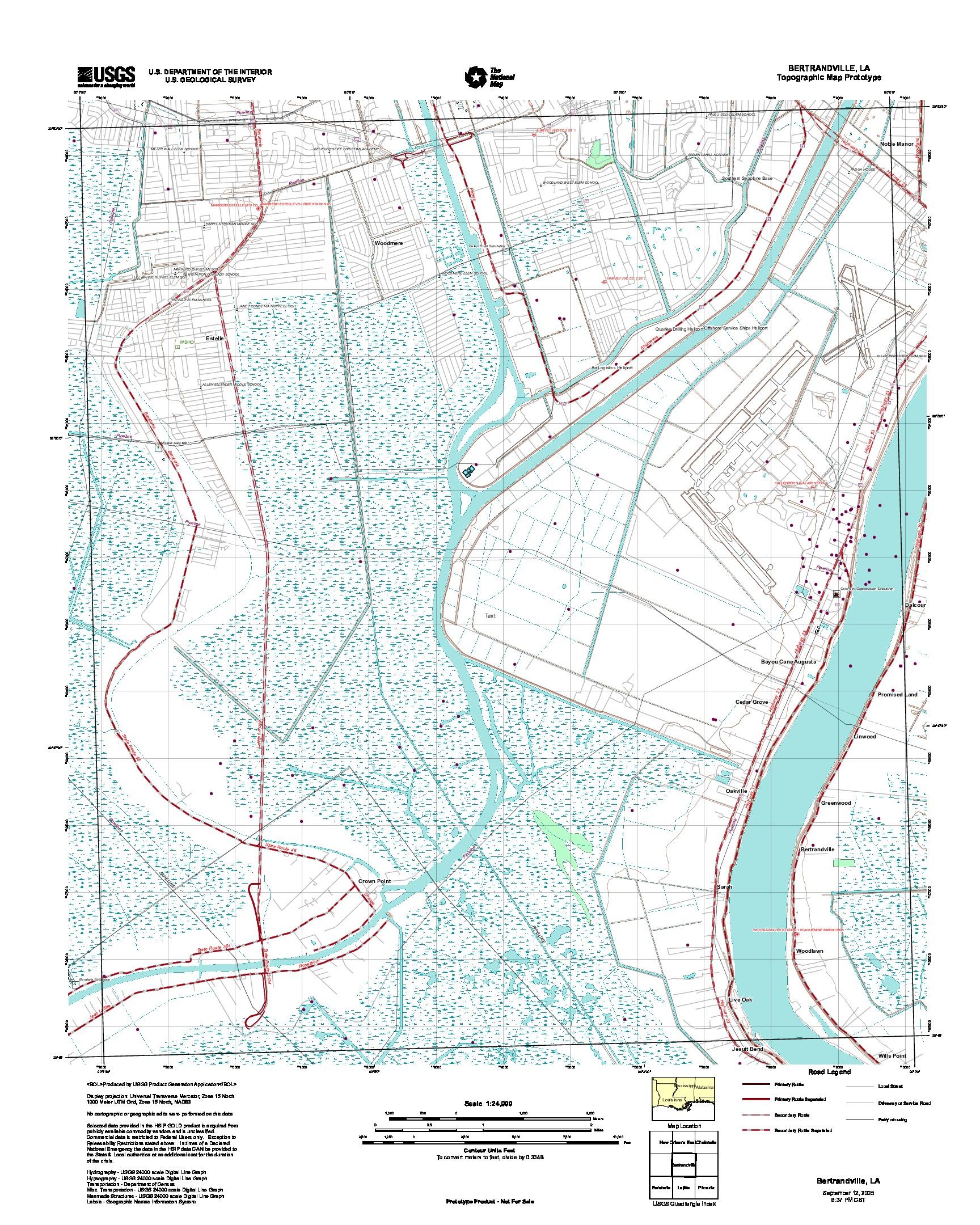 Prototipo de Mapa Topográfico de Bertryville, Luisiana, Estados Unidos, Septiembre 12, 2005
