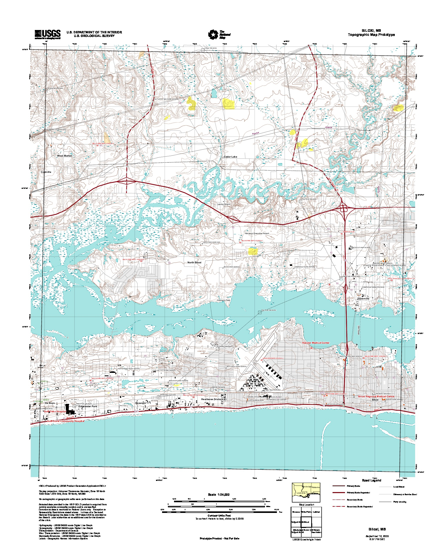 Biloxi, Topographic Map Prototype, Mississippi, United States, September 12, 2005