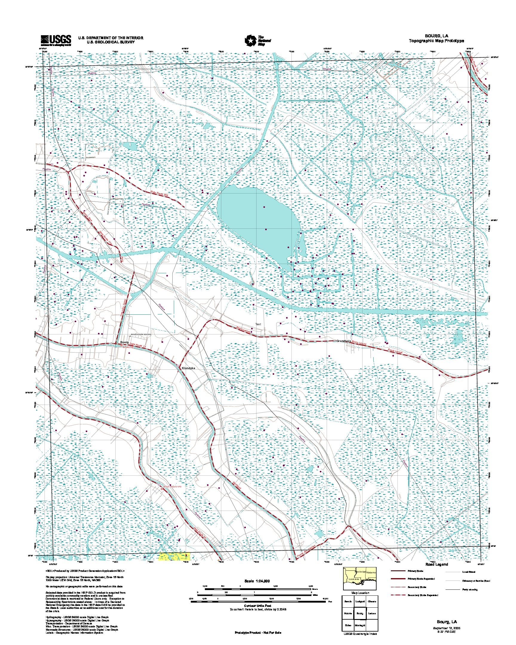 Bourg, Topographic Map Prototype, Louisiana, United States, September 12, 2005