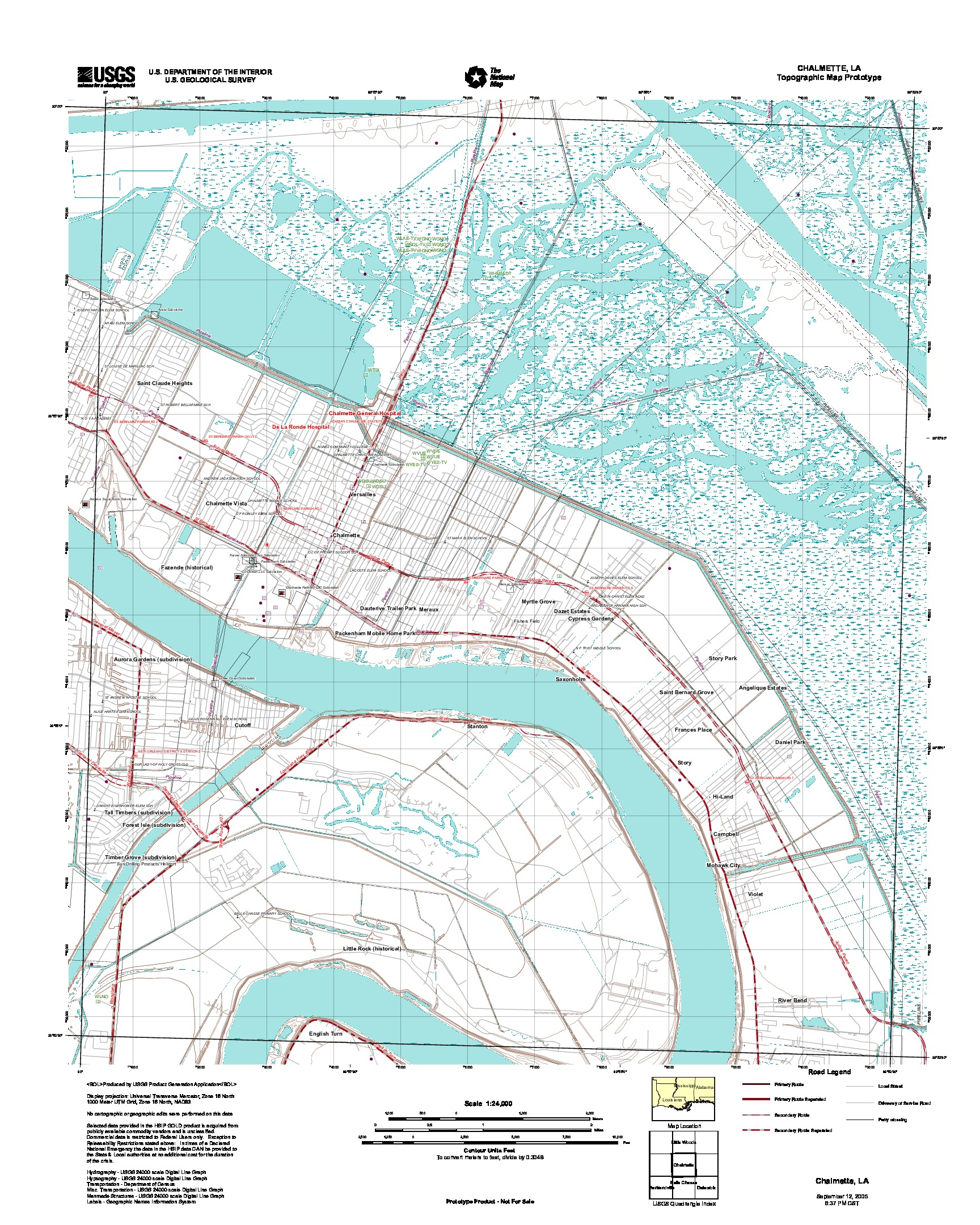 Chalmette, Topographic Map Prototype, Louisiana, United States, September 12, 2005