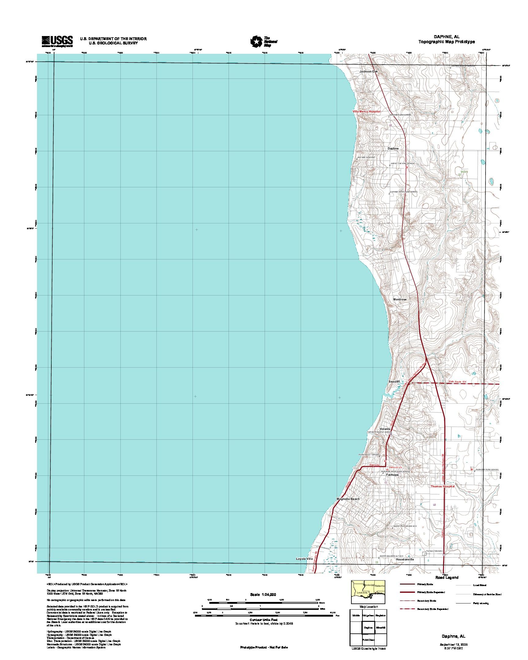 Daphne, Topographic Map Prototype, Alabama, United States, September 12, 2005