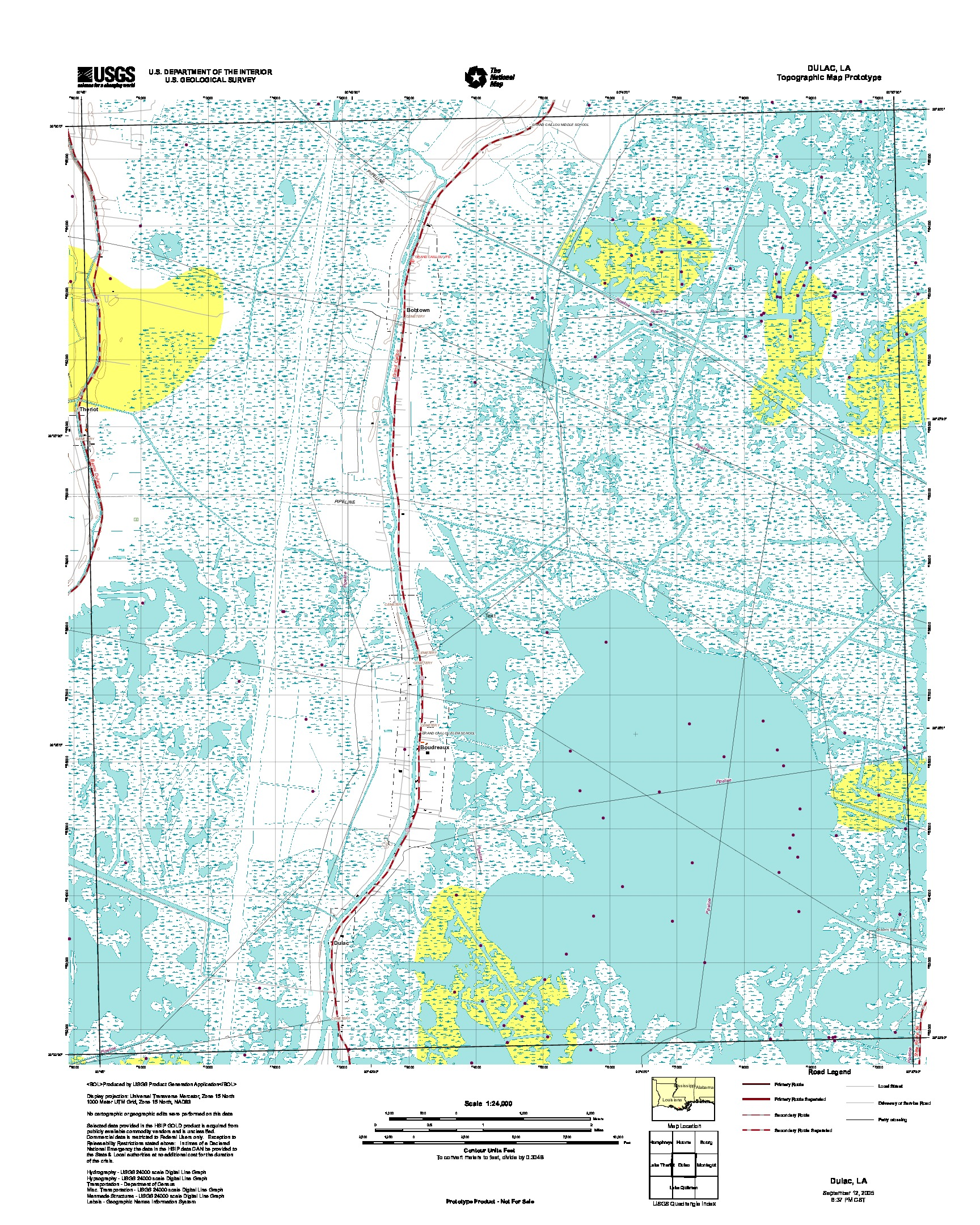 Dulac, Topographic Map Prototype, Louisiana, United States, September 12, 2005