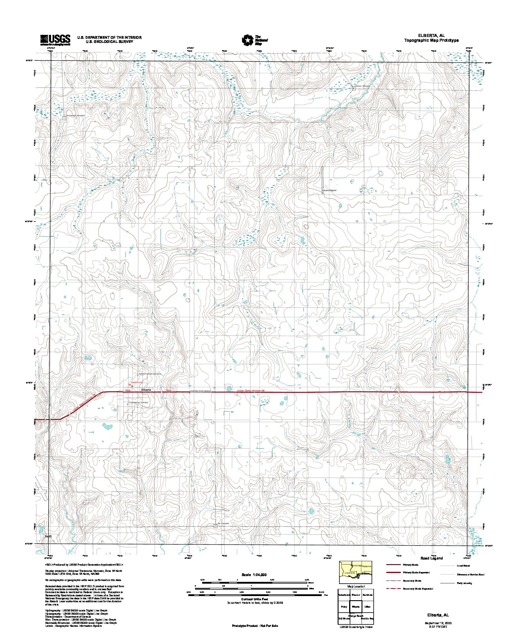 Elberta, Topographic Map Prototype, Alabama, United States, September 12, 2005