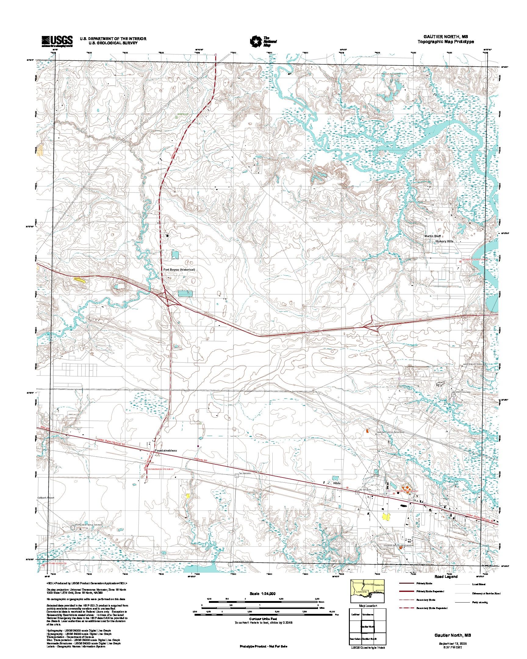 Prototipo de Mapa Topográfico de Gautier North, Misisipi, Estados Unidos, Septiembre 12, 2005