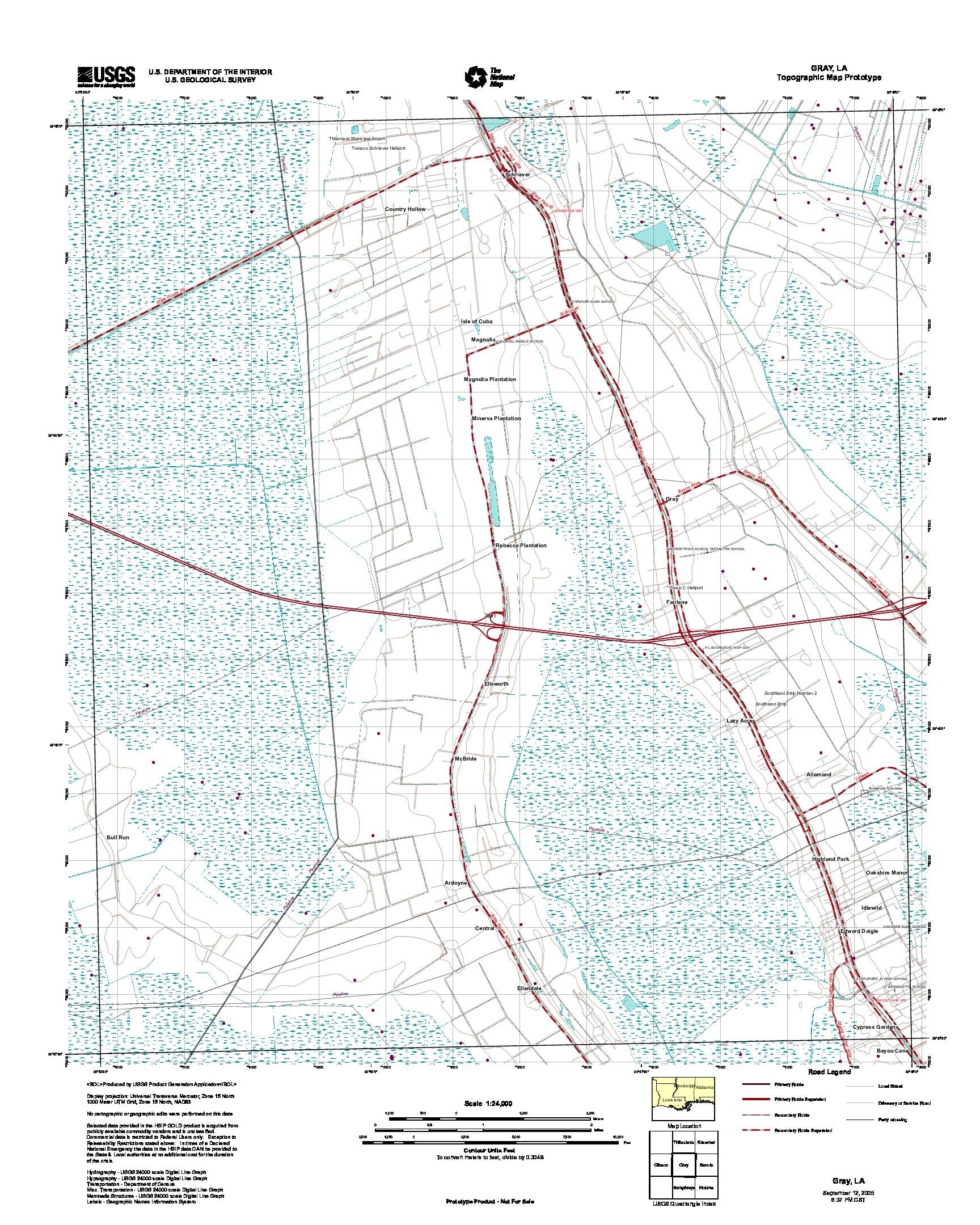 Prototipo de Mapa Topográfico de Gray, Luisiana, Estados Unidos, Septiembre 12, 2005