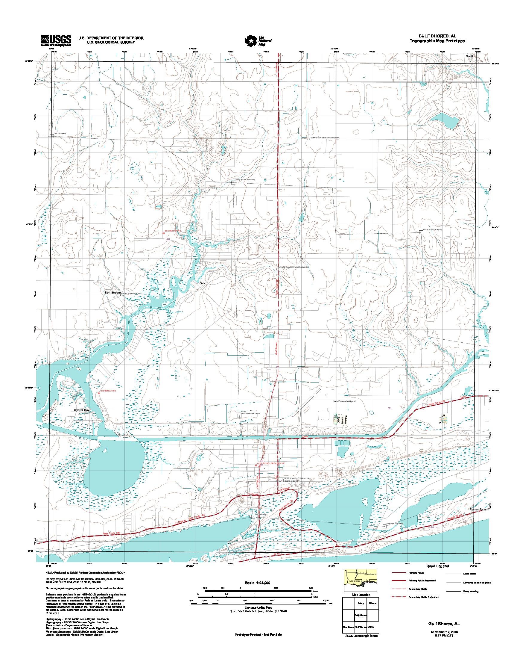 Prototipo de Mapa Topográfico de Gulf Shores, Alabama, Estados Unidos, Septiembre 12, 2005