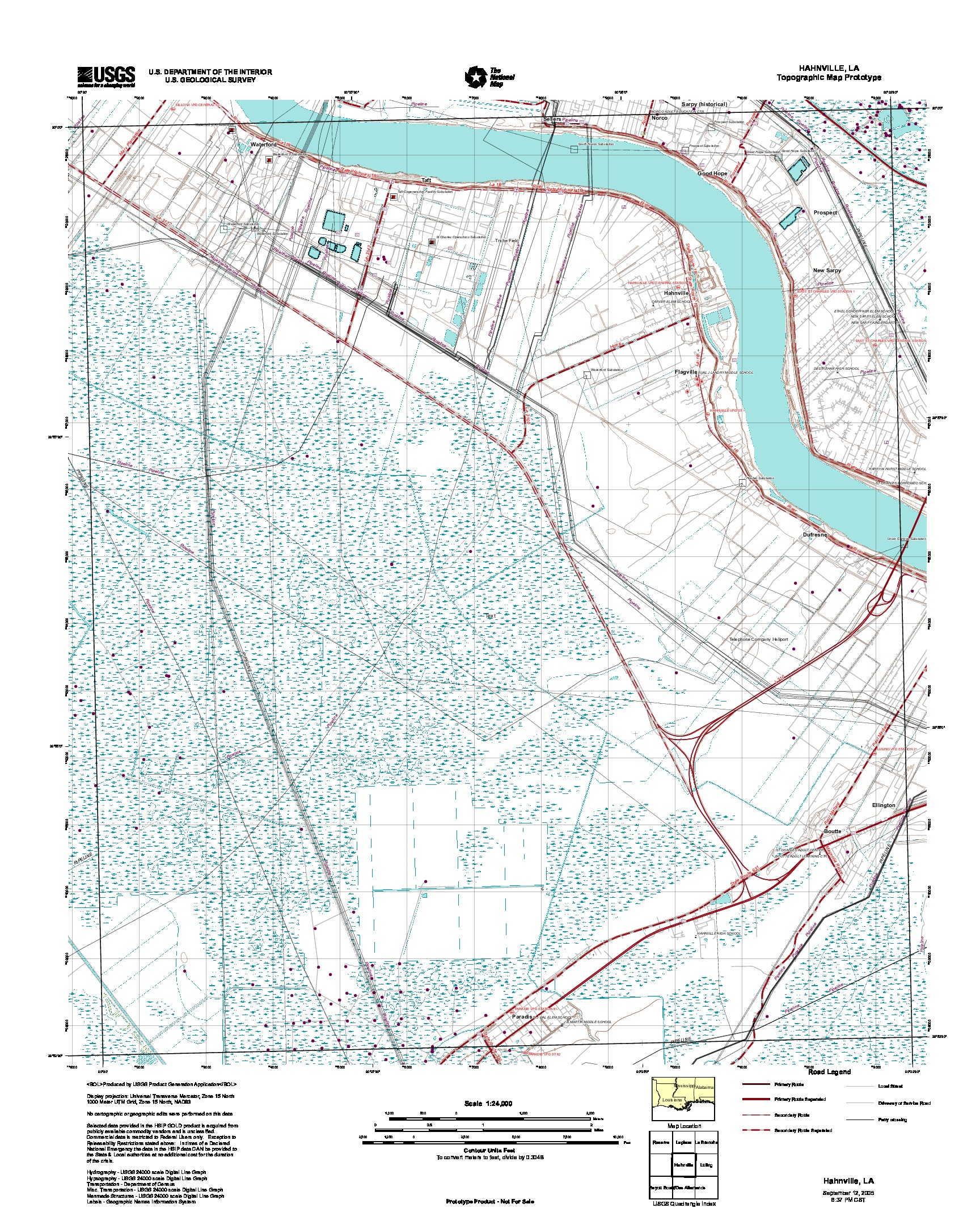 Hahnville, Topographic Map Prototype, Louisiana, United States, September 12, 2005