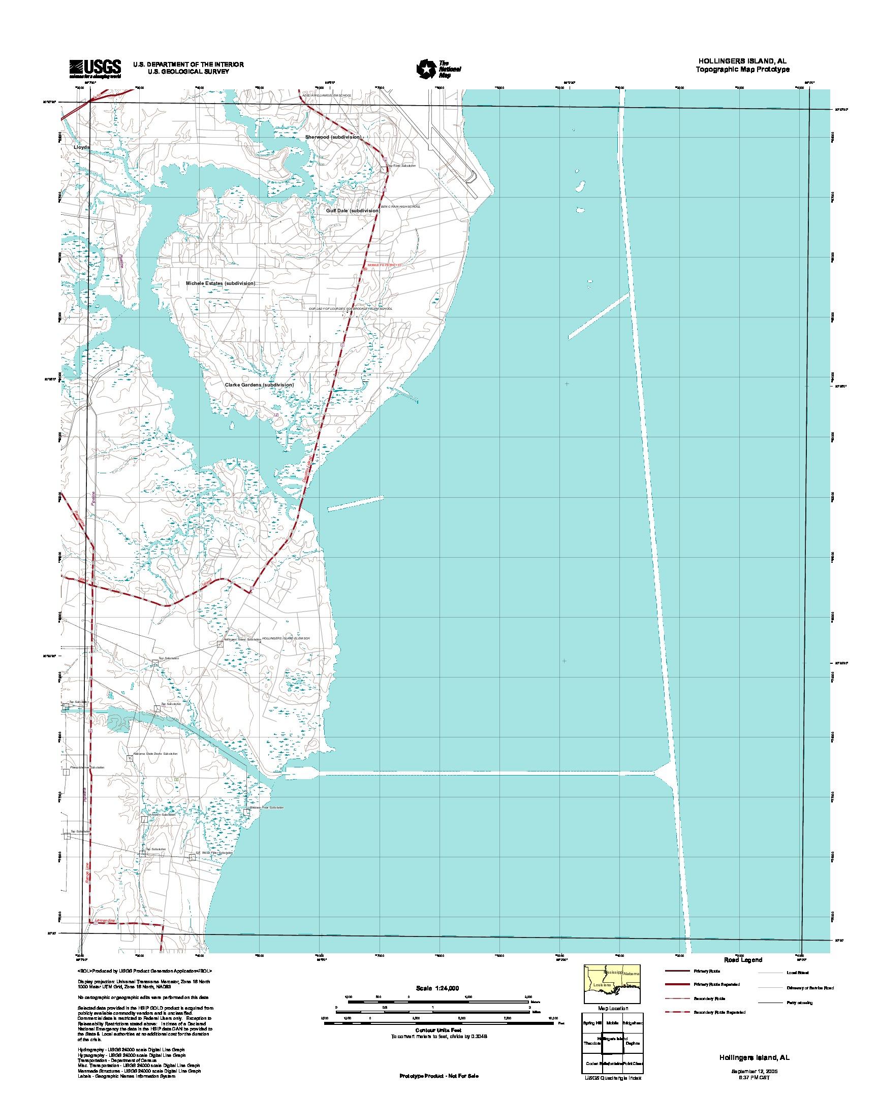 Hollingers Island, Topographic Map Prototype, Alabama, United States, September 12, 2005