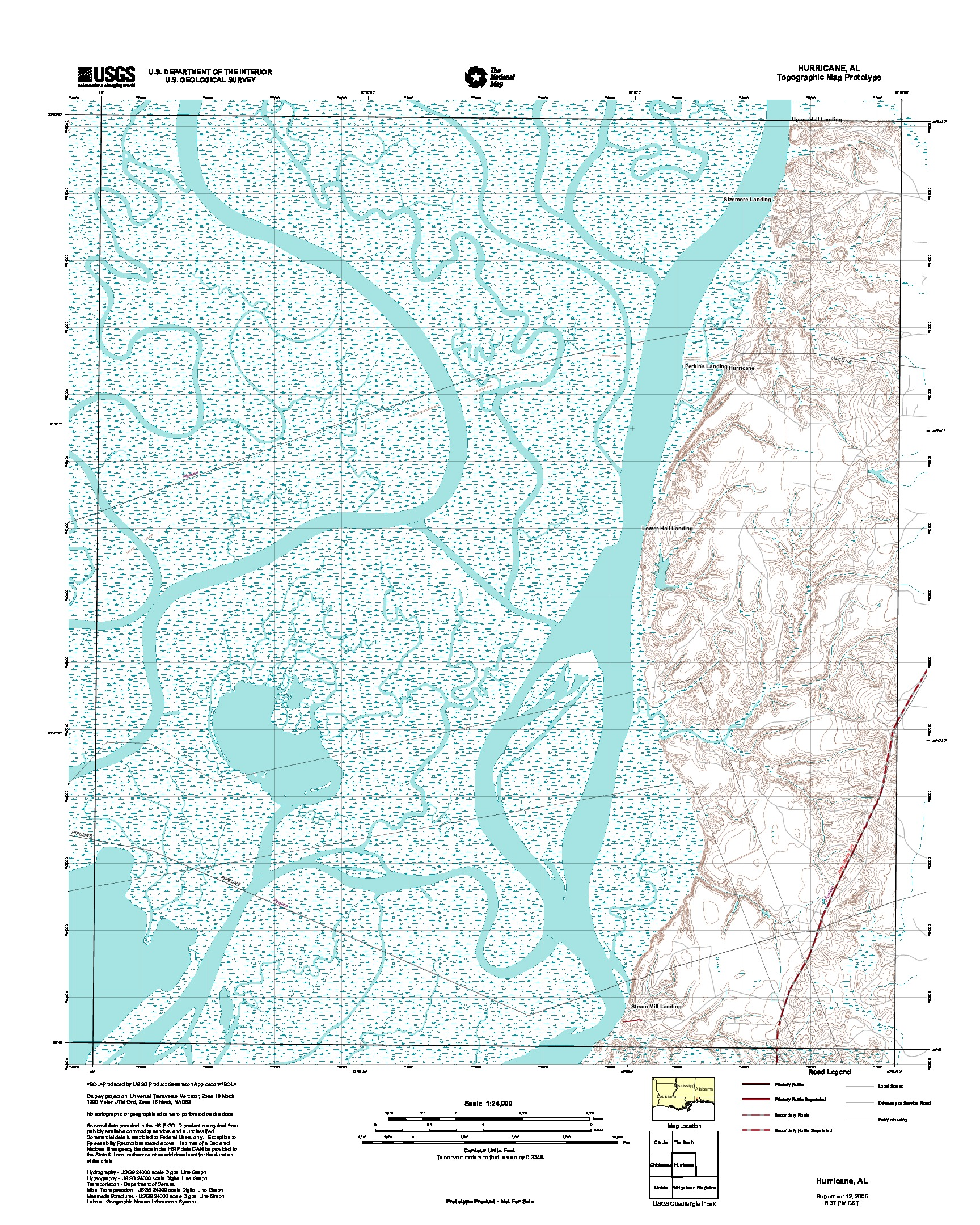 Hurricane, Topographic Map Prototype, Alabama, United States, September 12, 2005