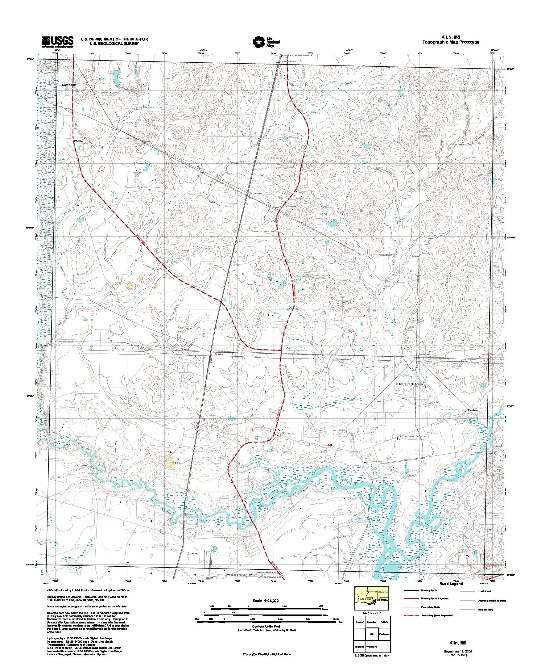 Prototipo de Mapa Topográfico de Kiln, Misisipi, Estados Unidos, Septiembre 12, 2005