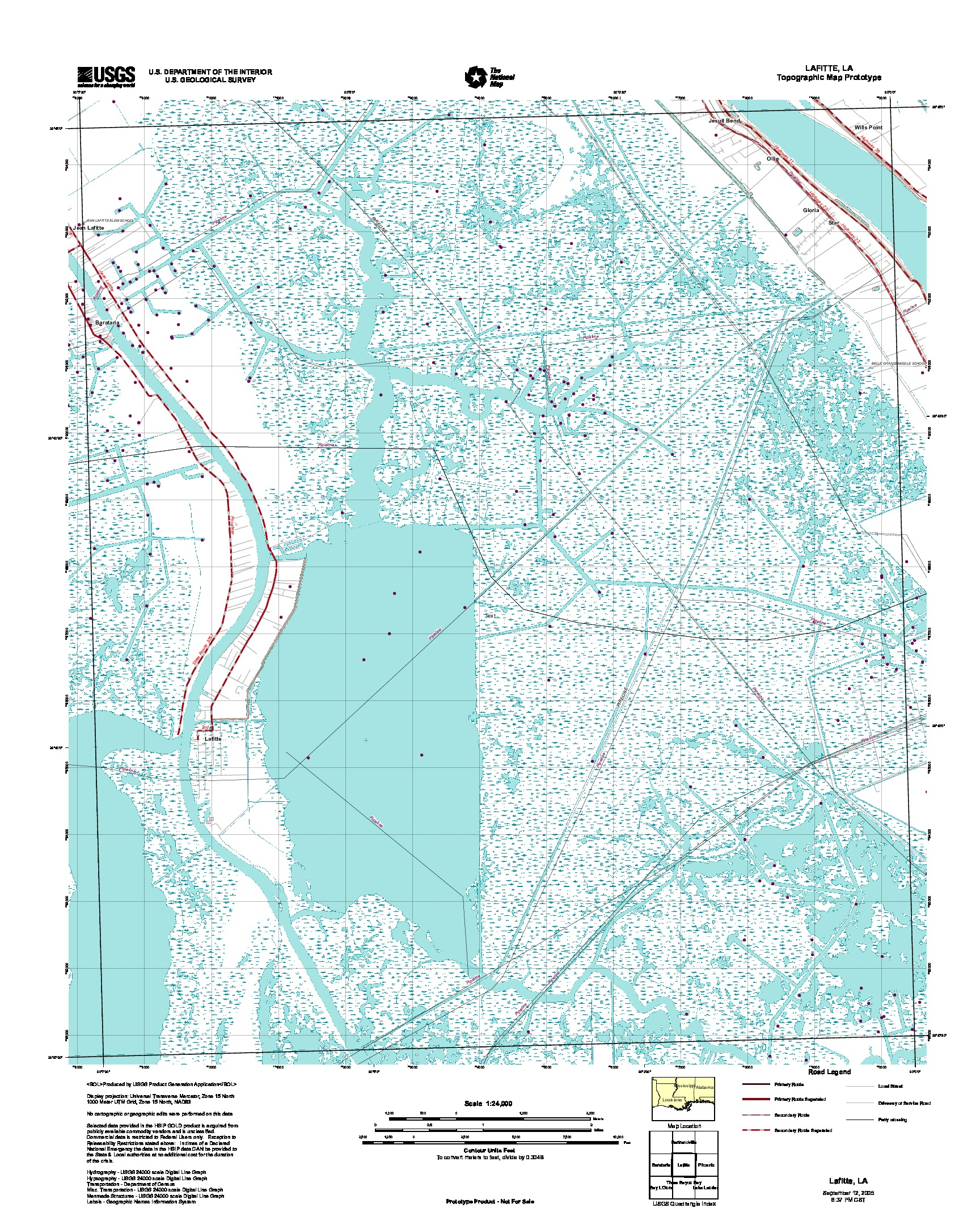 Lafitte, Topographic Map Prototype, Louisiana, United States, September 12, 2005