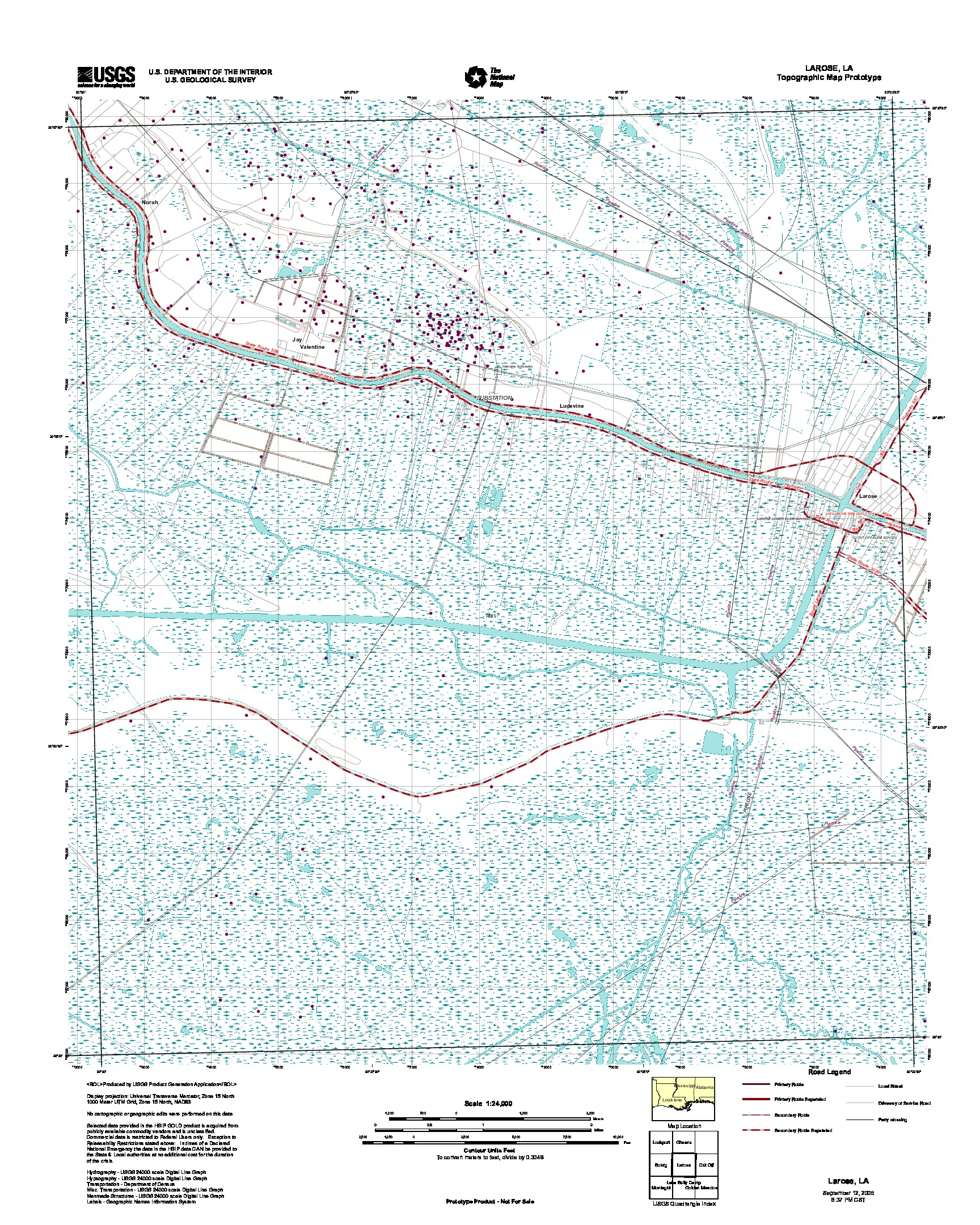 Larose, Topographic Map Prototype, Louisiana, United States, September 12, 2005