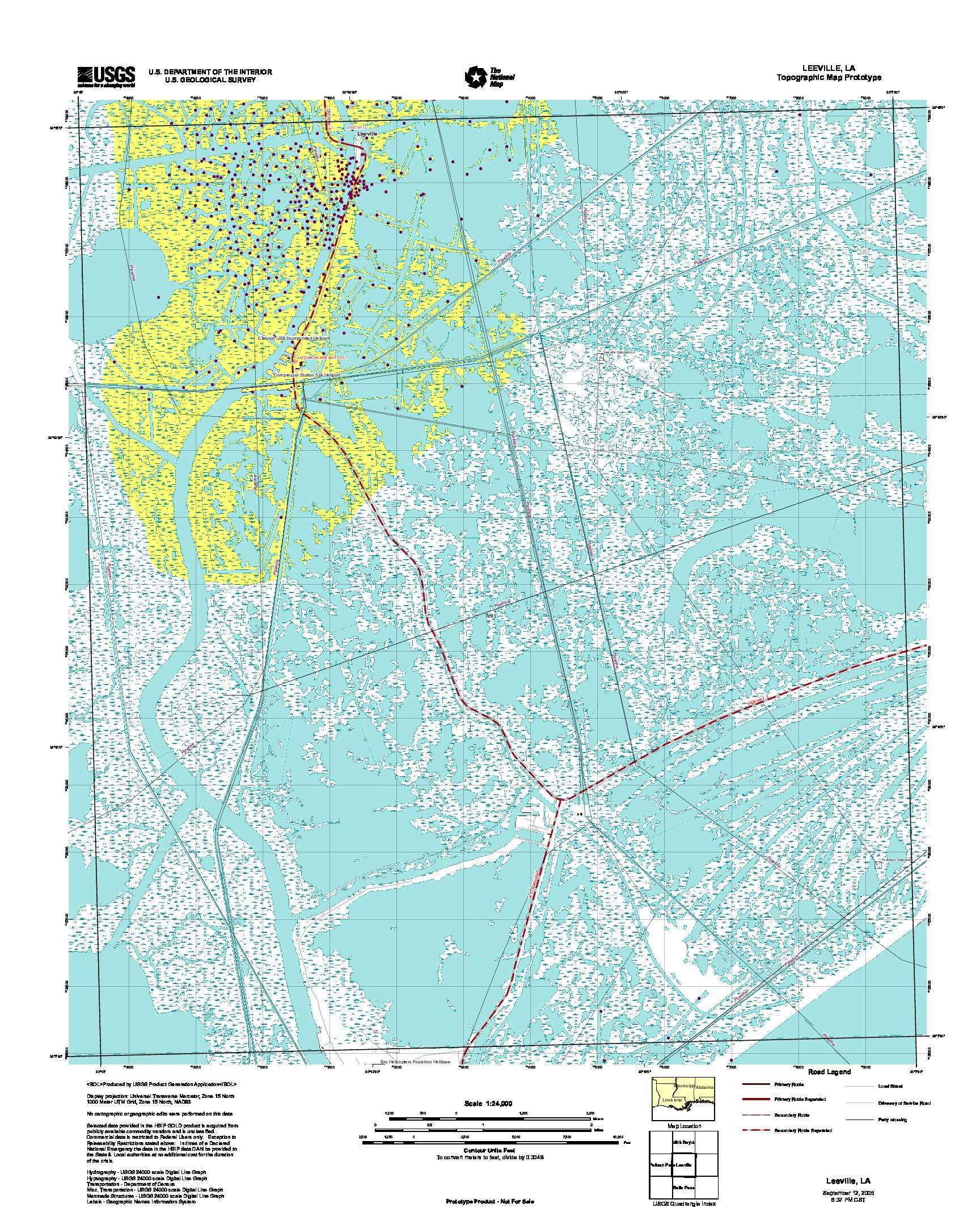 Leeville, Topographic Map Prototype, Louisiana, United States, September 12, 2005