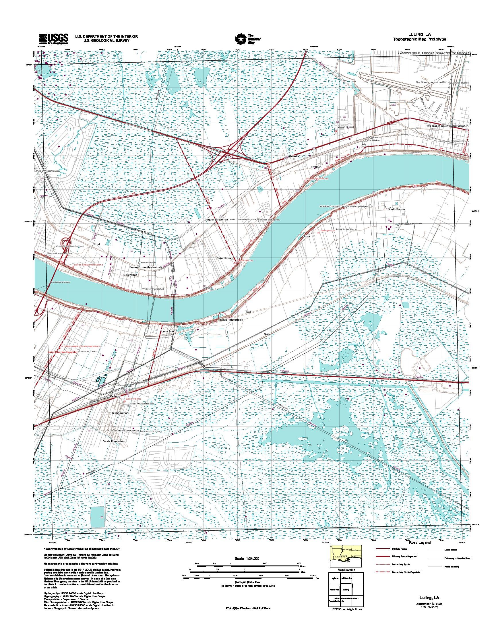 Prototipo de Mapa Topográfico de Luling, Luisiana, Estados Unidos, Septiembre 12, 2005