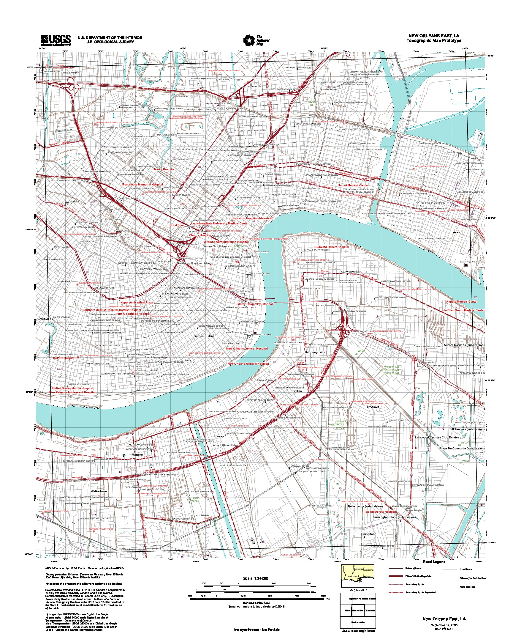 New Orleans East, Topographic Map Prototype, Louisiana, United States, September 12, 2005