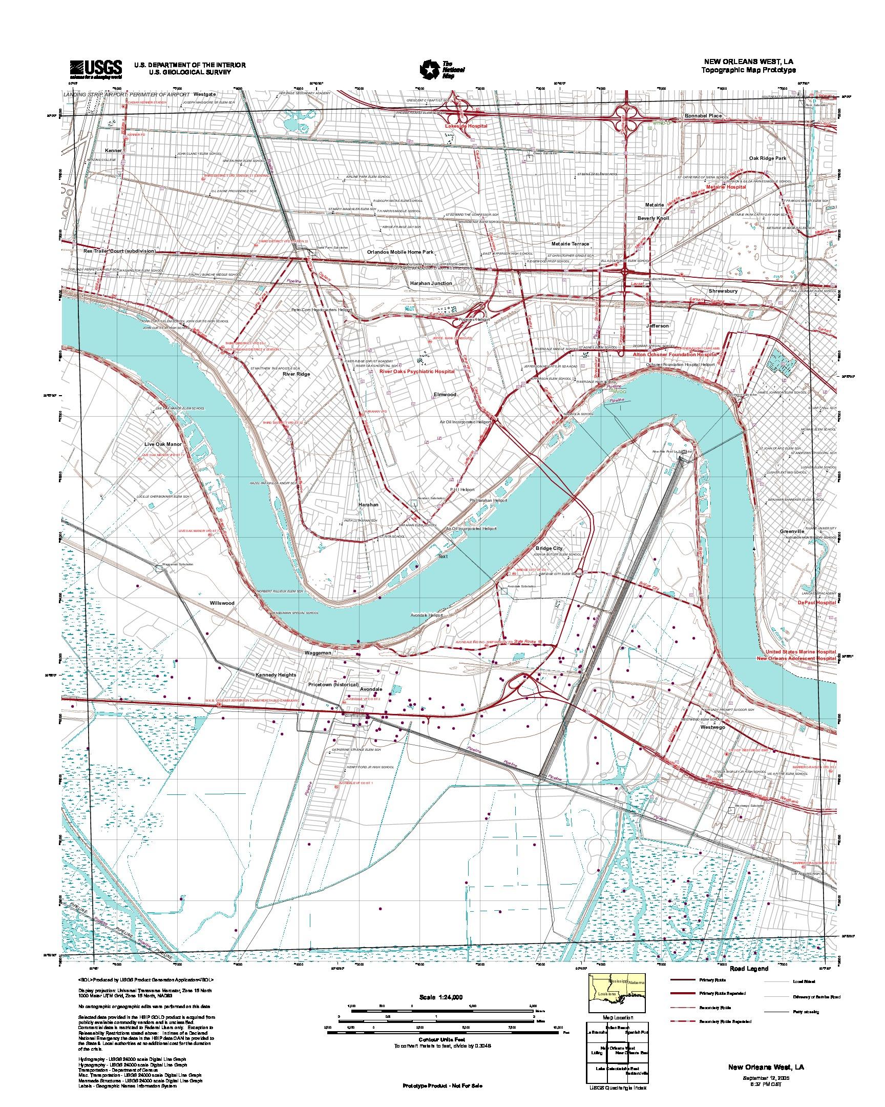 Prototipo de Mapa Topográfico de Nueva Orleans Oeste, Luisiana, Estados Unidos, Septiembre 12, 2005