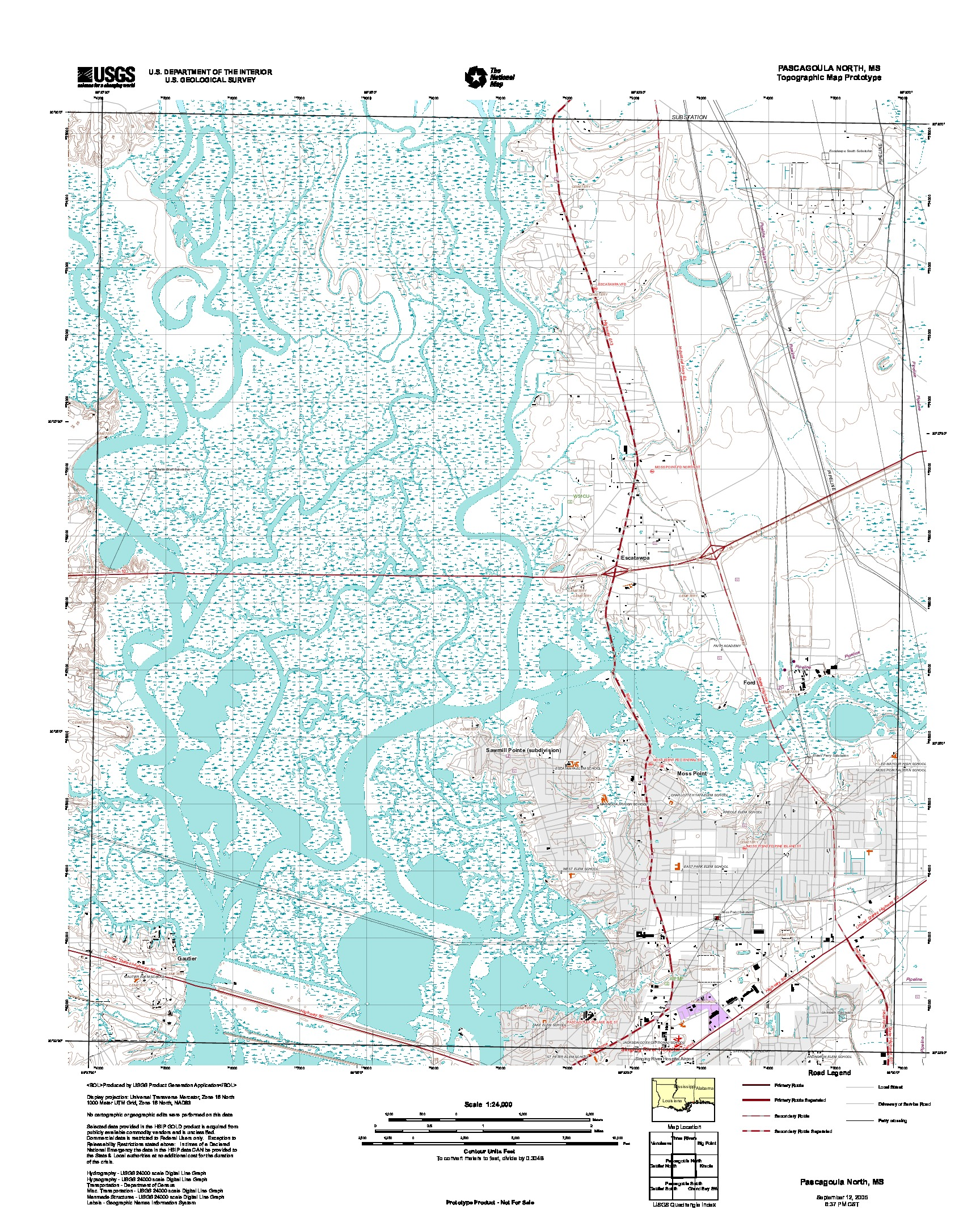 Pascagoula North, Topographic Map Prototype, Mississippi, United States, September 12, 2005