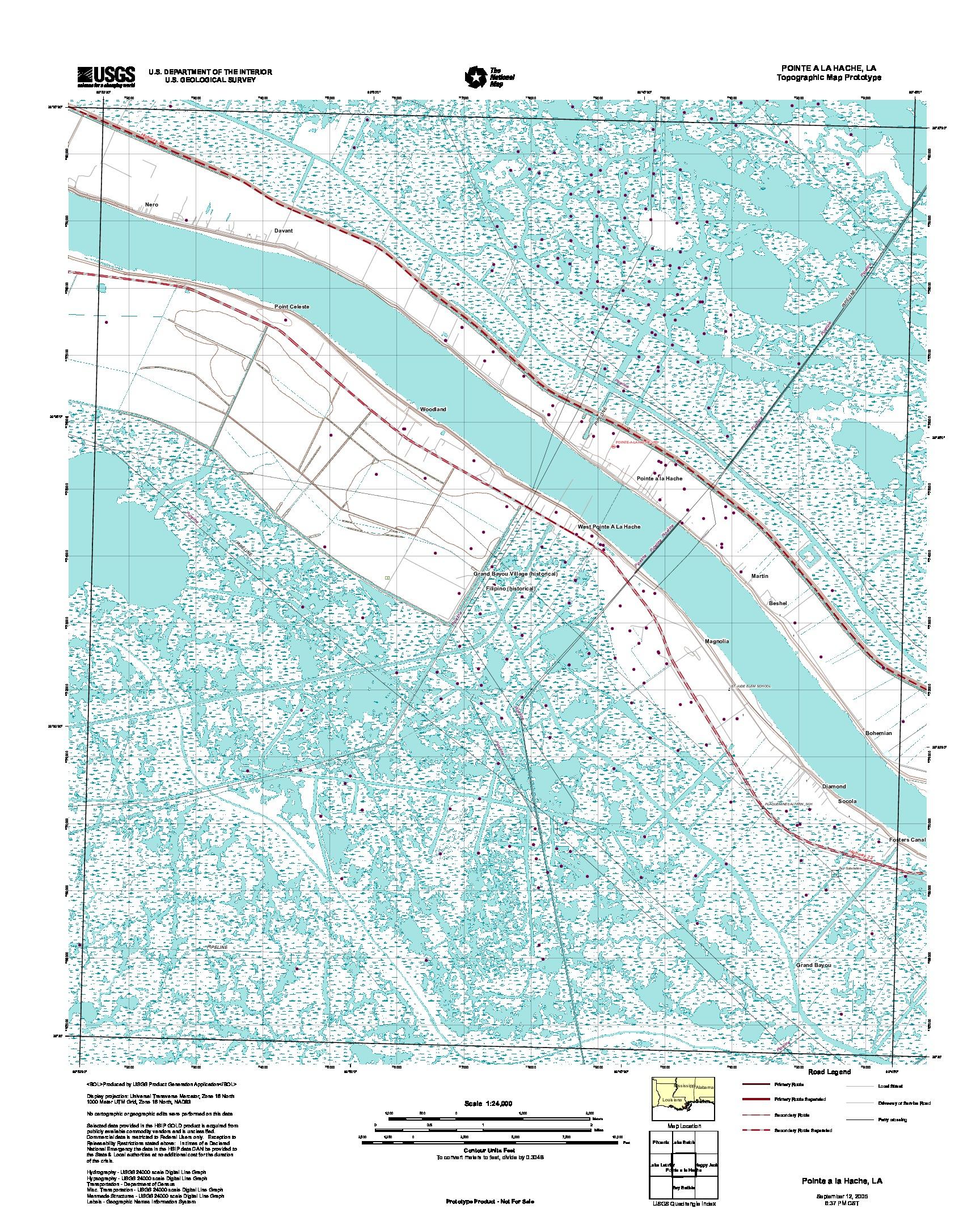 Pointe a la Hache, Topographic Map Prototype, Louisiana, United States, September 12, 2005