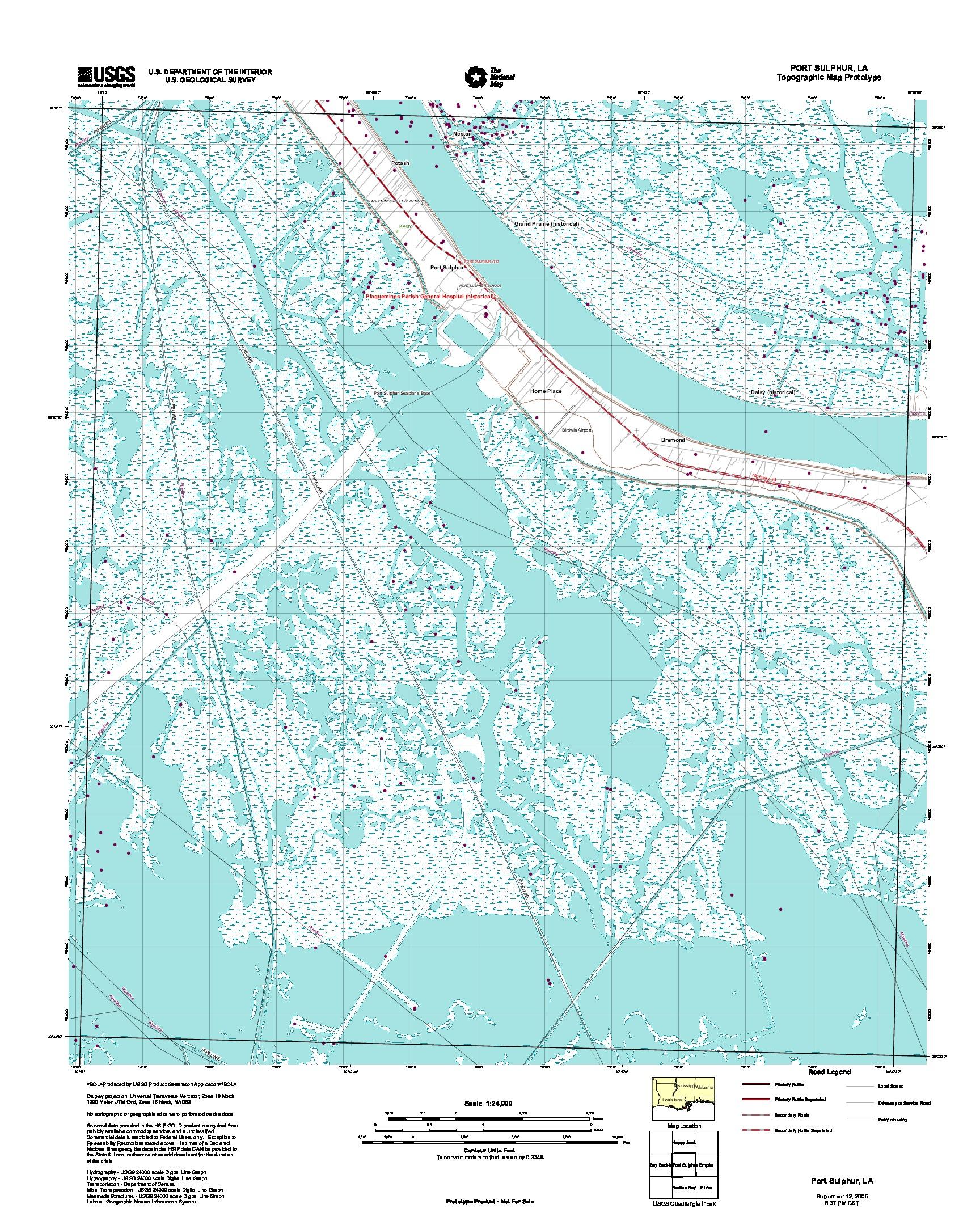 Prototipo de Mapa Topográfico de Port Sulphur, Luisiana, Estados Unidos, Septiembre 12, 2005