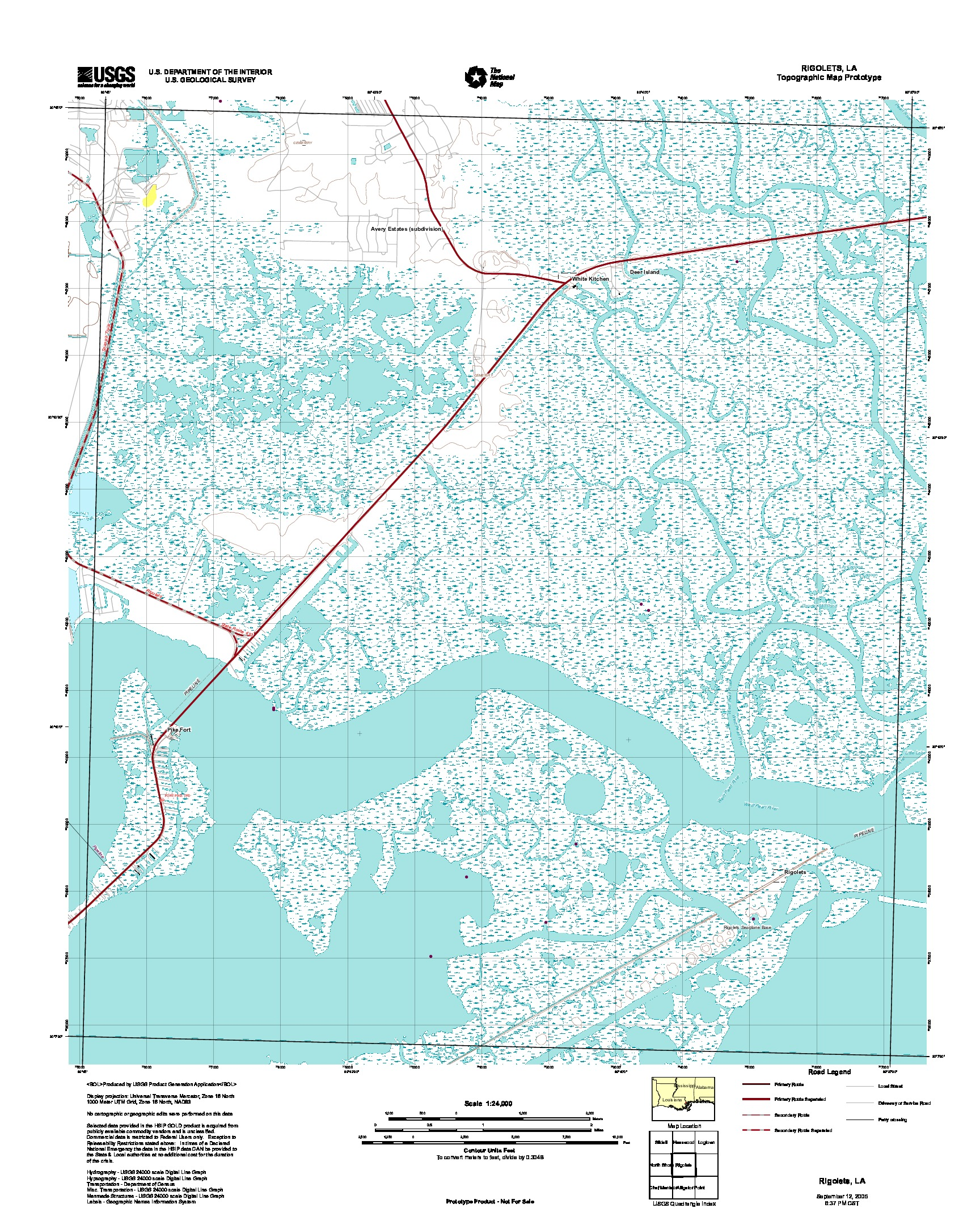Rigolets, Topographic Map Prototype, Louisiana, United States, September 12, 2005