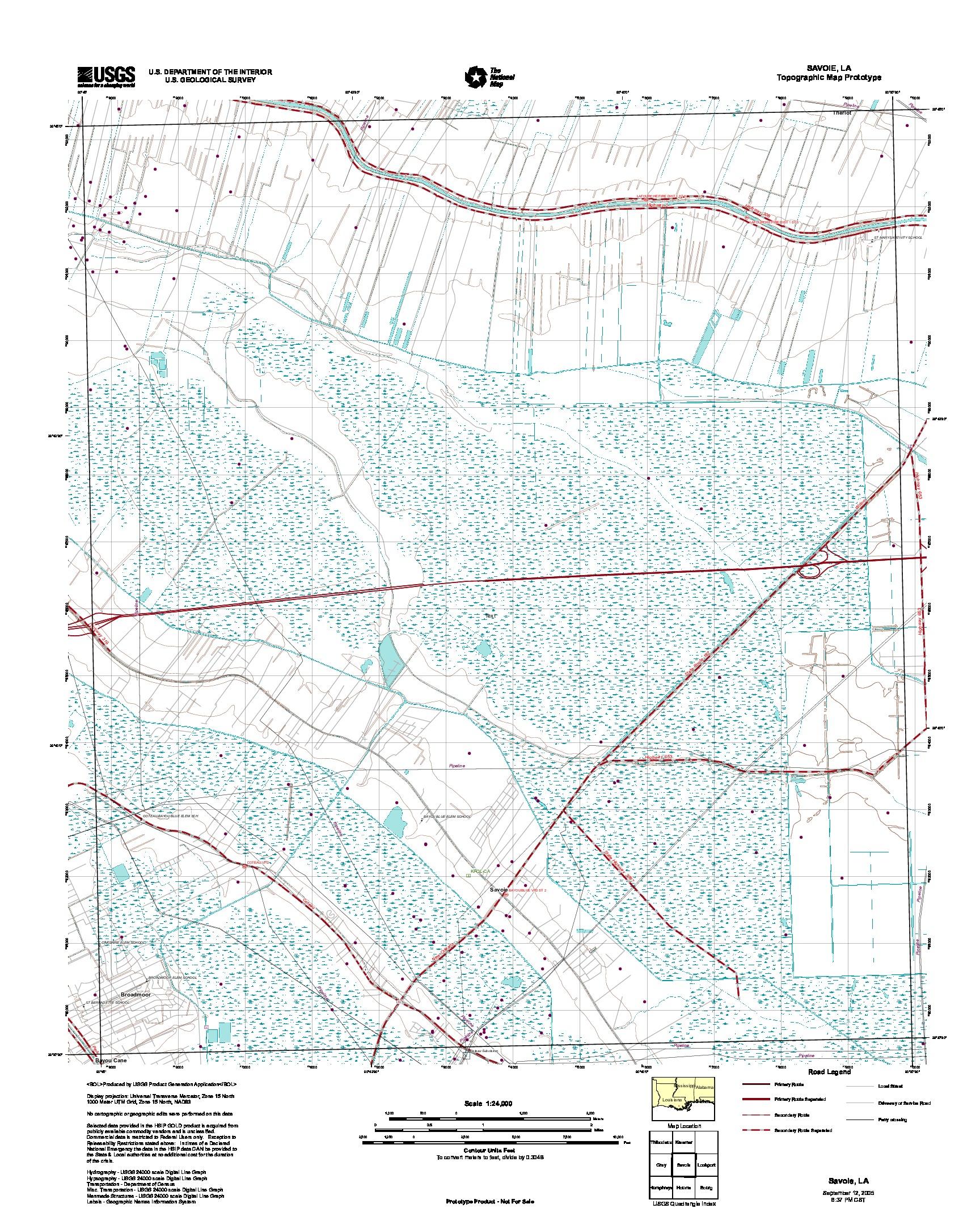 Prototipo de Mapa Topográfico de Savoie, Luisiana, Estados Unidos, Septiembre 12, 2005
