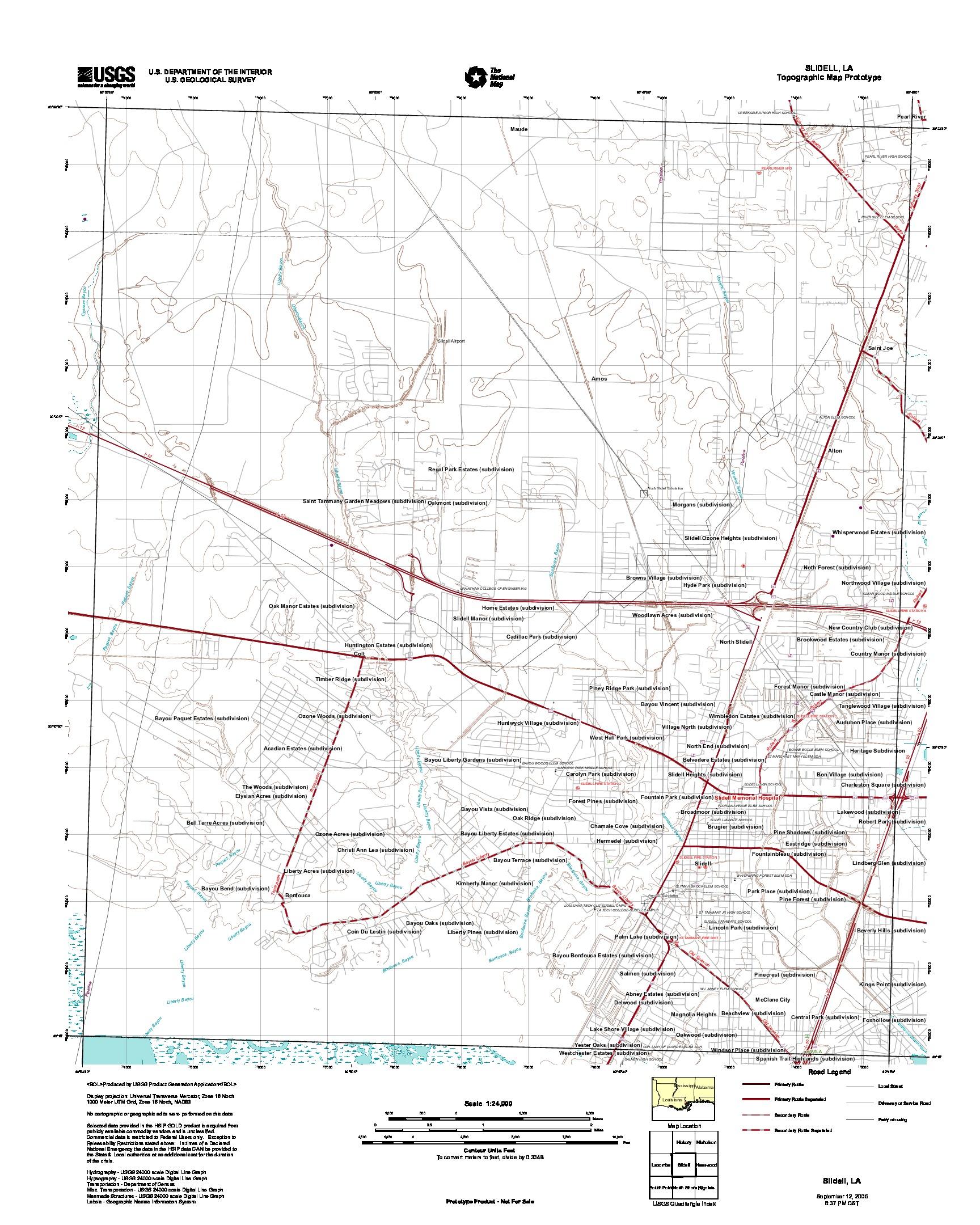 Prototipo de Mapa Topográfico de Slidell, Luisiana, Estados Unidos, Septiembre 12, 2005