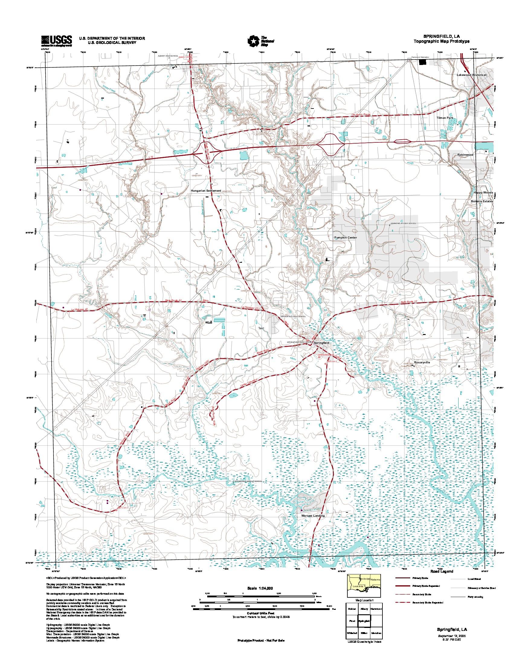 Prototipo de Mapa Topográfico de Springfield, Luisiana, Estados Unidos, Septiembre 12, 2005