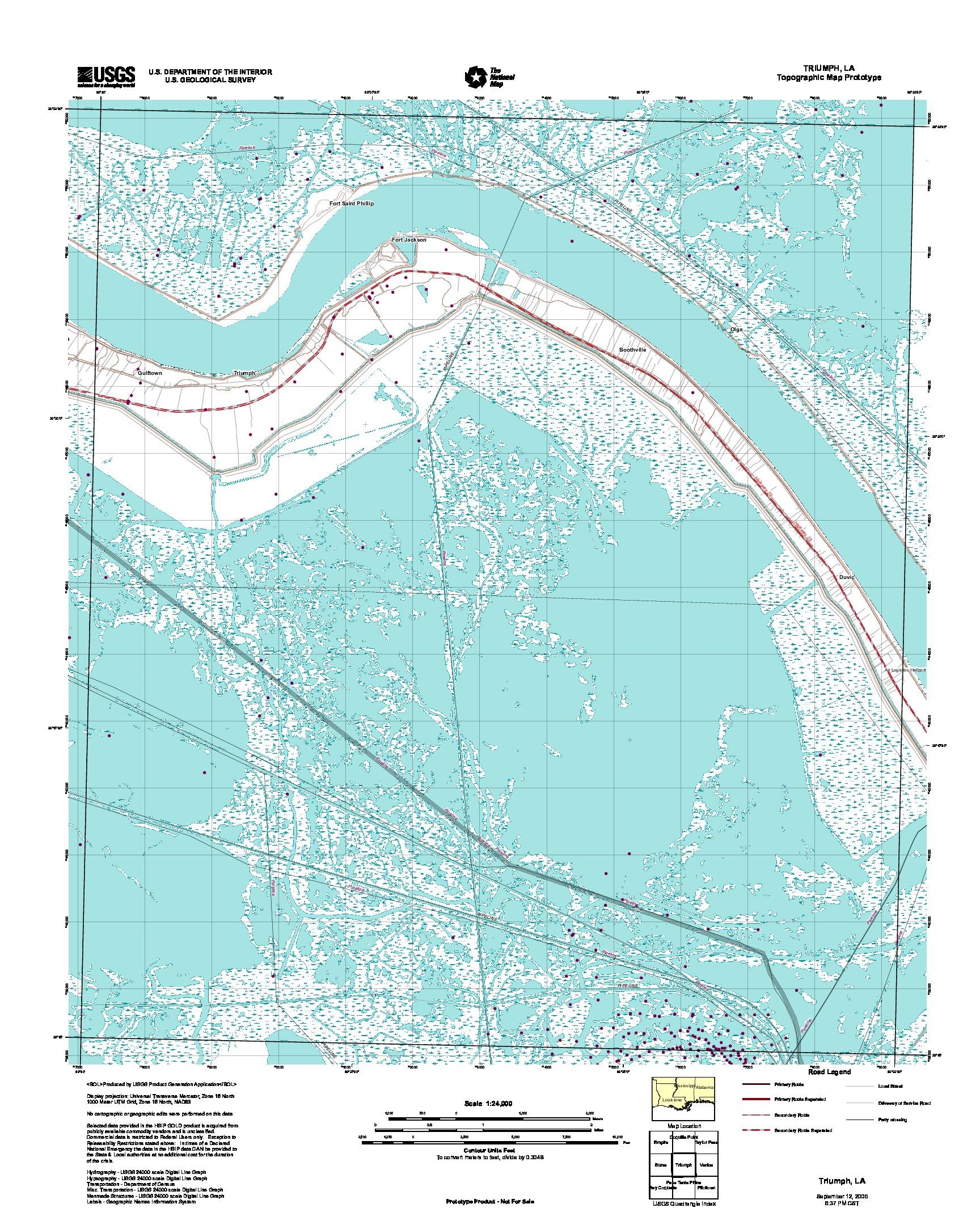 Triumph, Topographic Map Prototype, Louisiana, United States, September 12, 2005